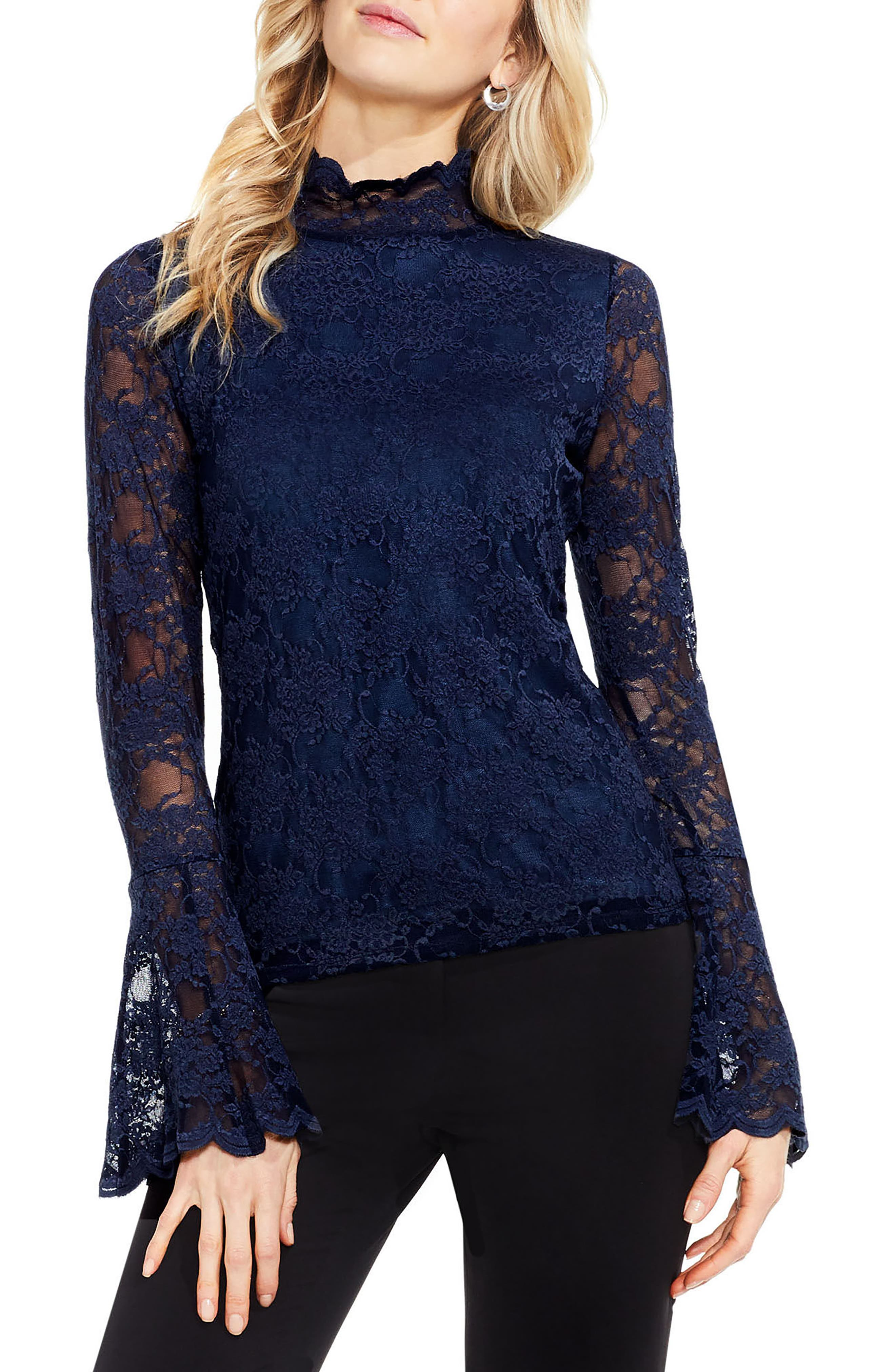 Bell Sleeve Lace Top,                         Main,                         color, Crew Navy