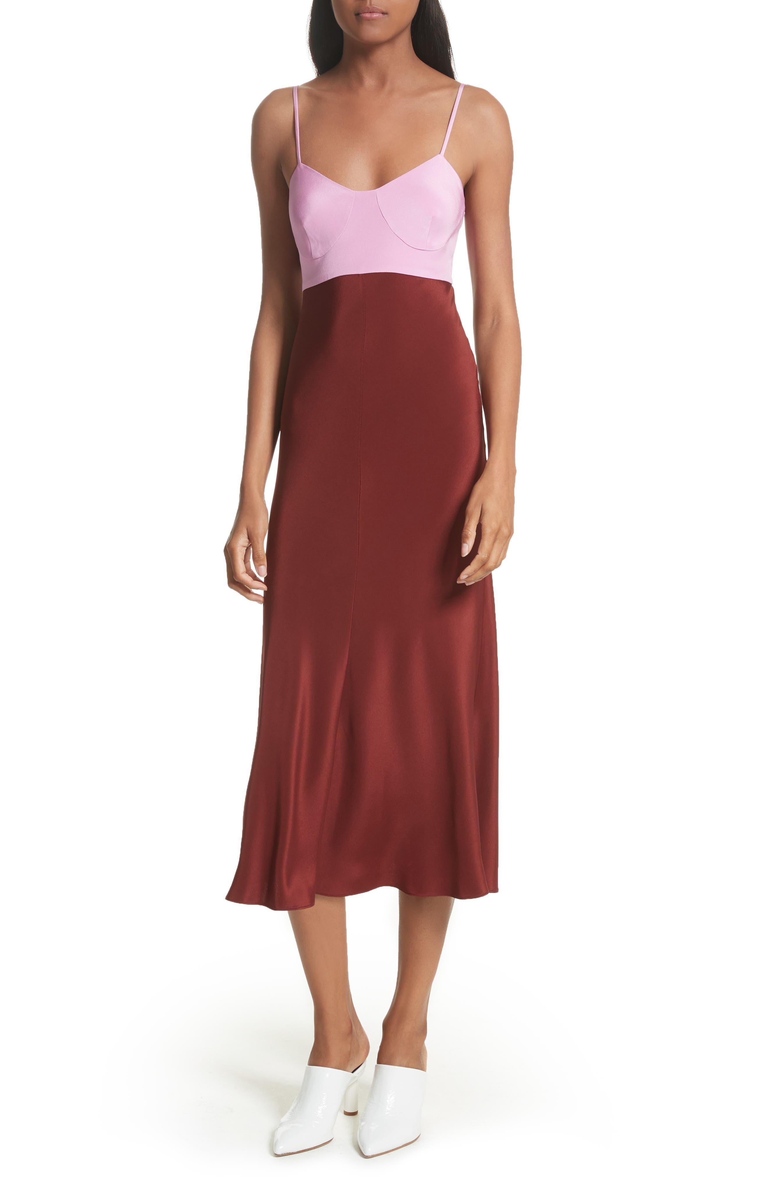 Silk Lingerie Dress,                             Main thumbnail 1, color,                             Burnt Red Multi