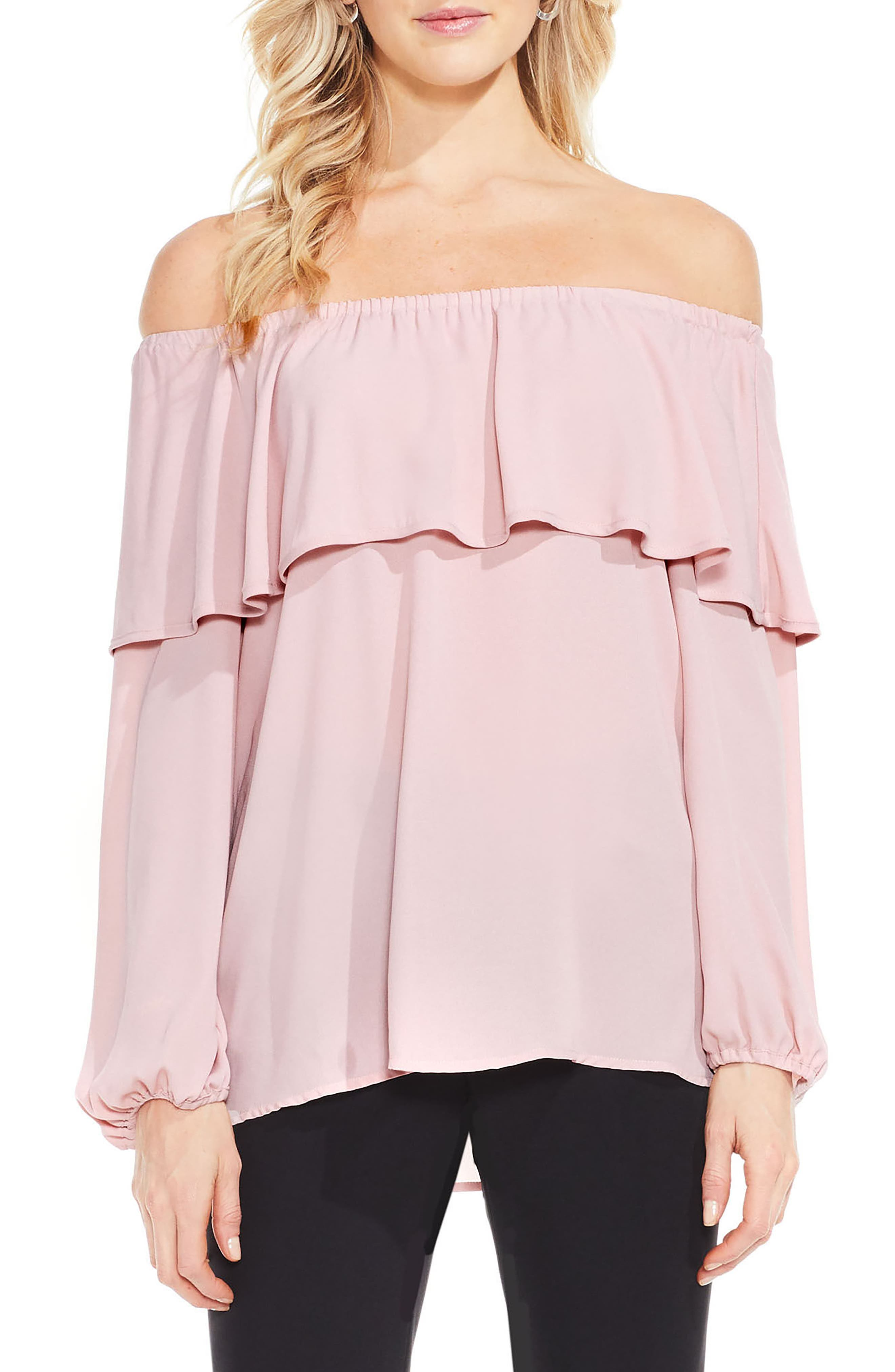 Ruffle Off the Shoulder Blouse,                             Main thumbnail 1, color,                             Iced Rose