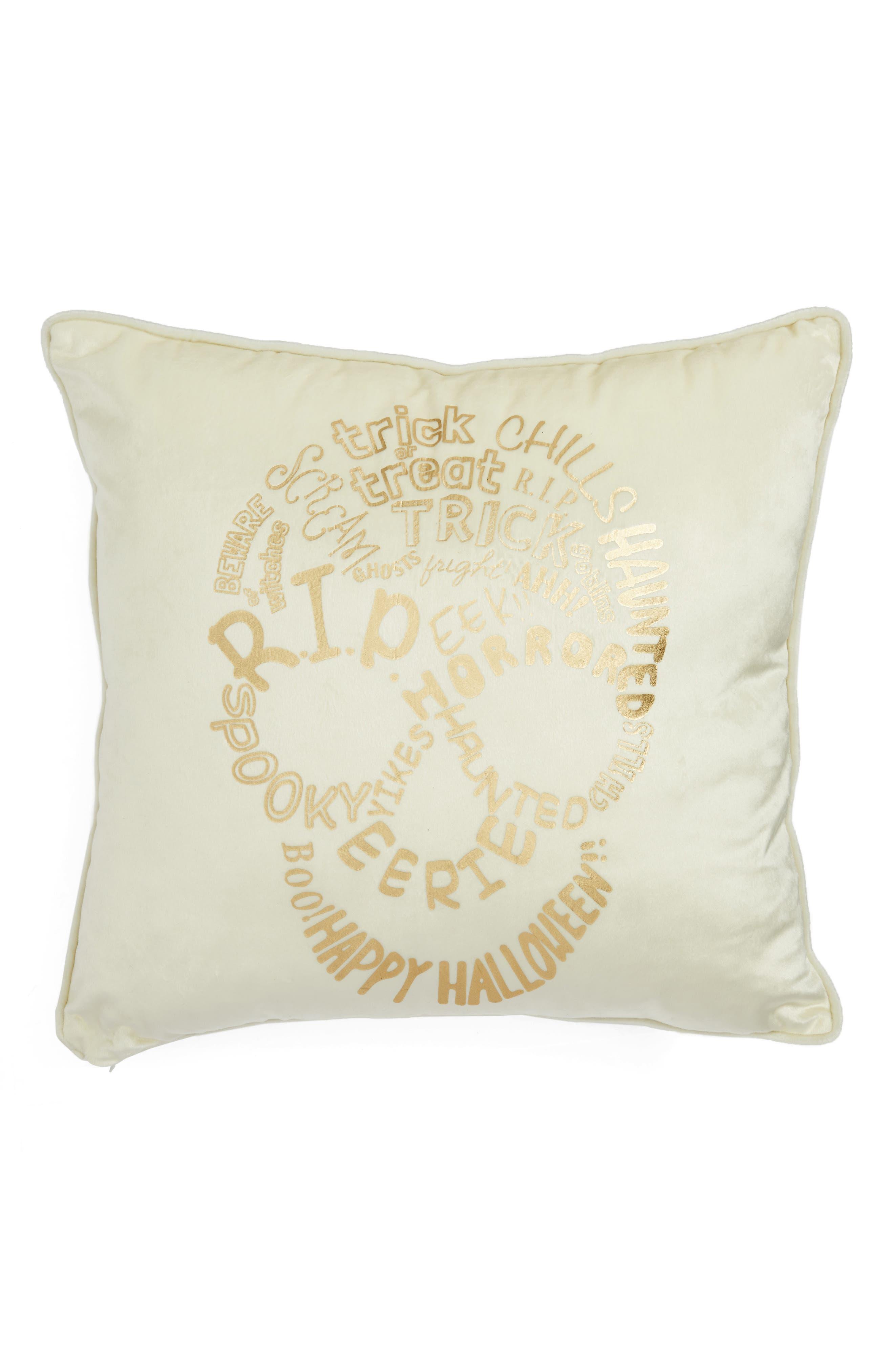Skull Velvet Accent Pillow,                         Main,                         color, White