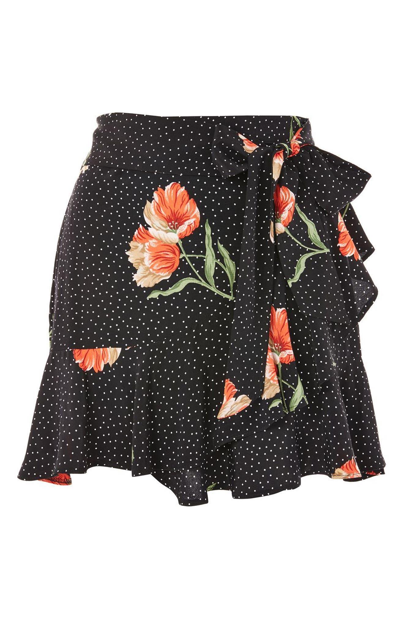 Spot Flower Ruffle Miniskirt,                             Alternate thumbnail 3, color,                             Black Multi