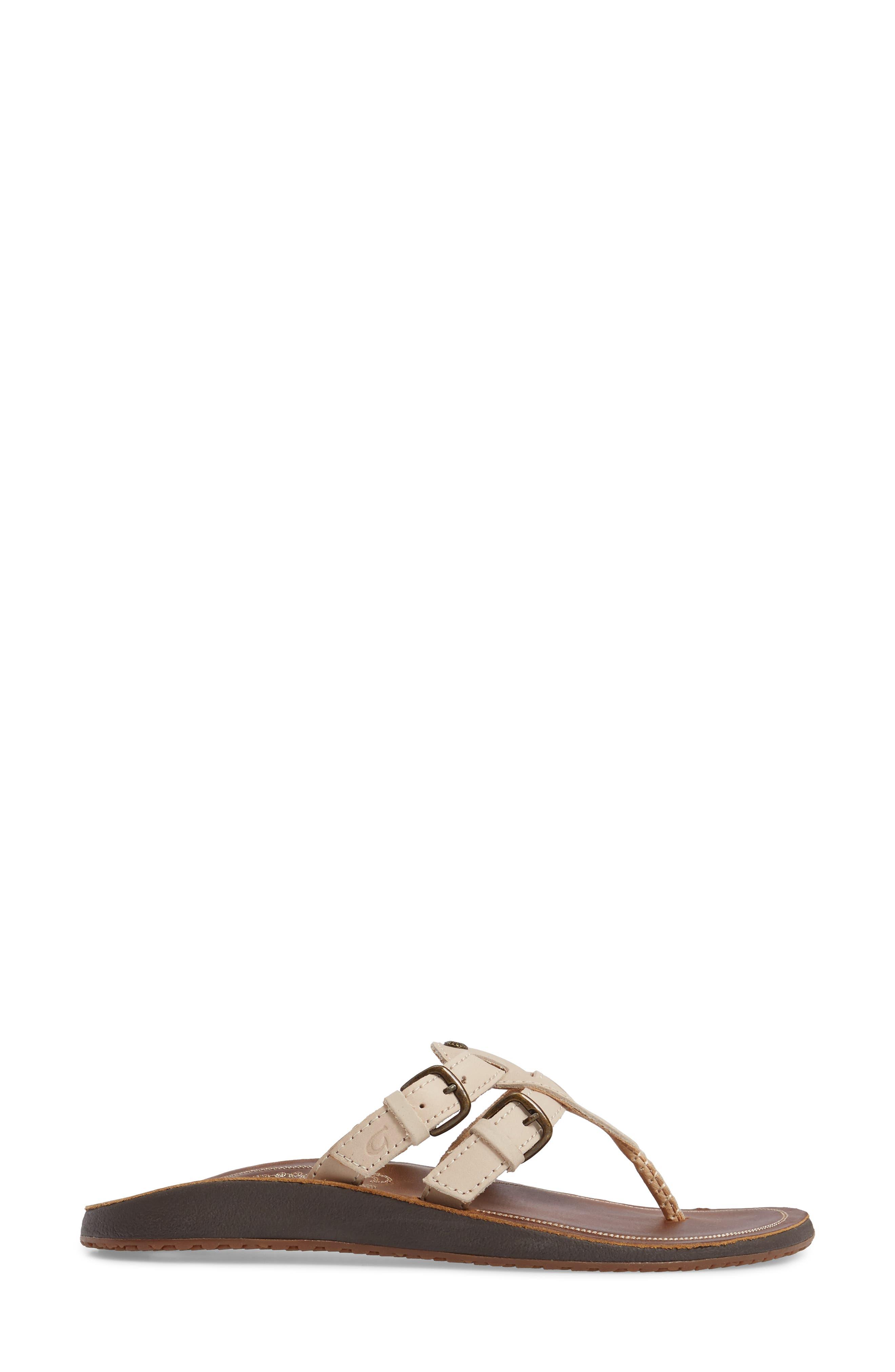 Honoka'a Buckle Flip Flop,                             Alternate thumbnail 3, color,                             Tapa/ Sahara Leather