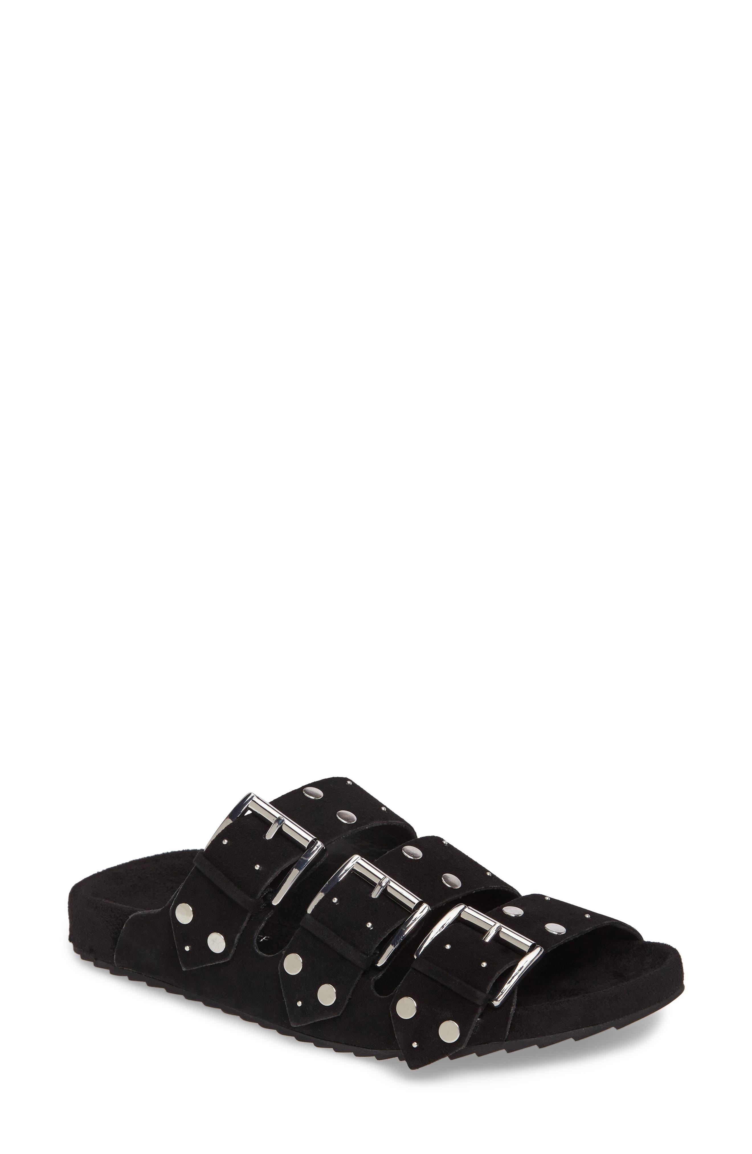 Tania Slide Sandal,                             Main thumbnail 1, color,                             Black