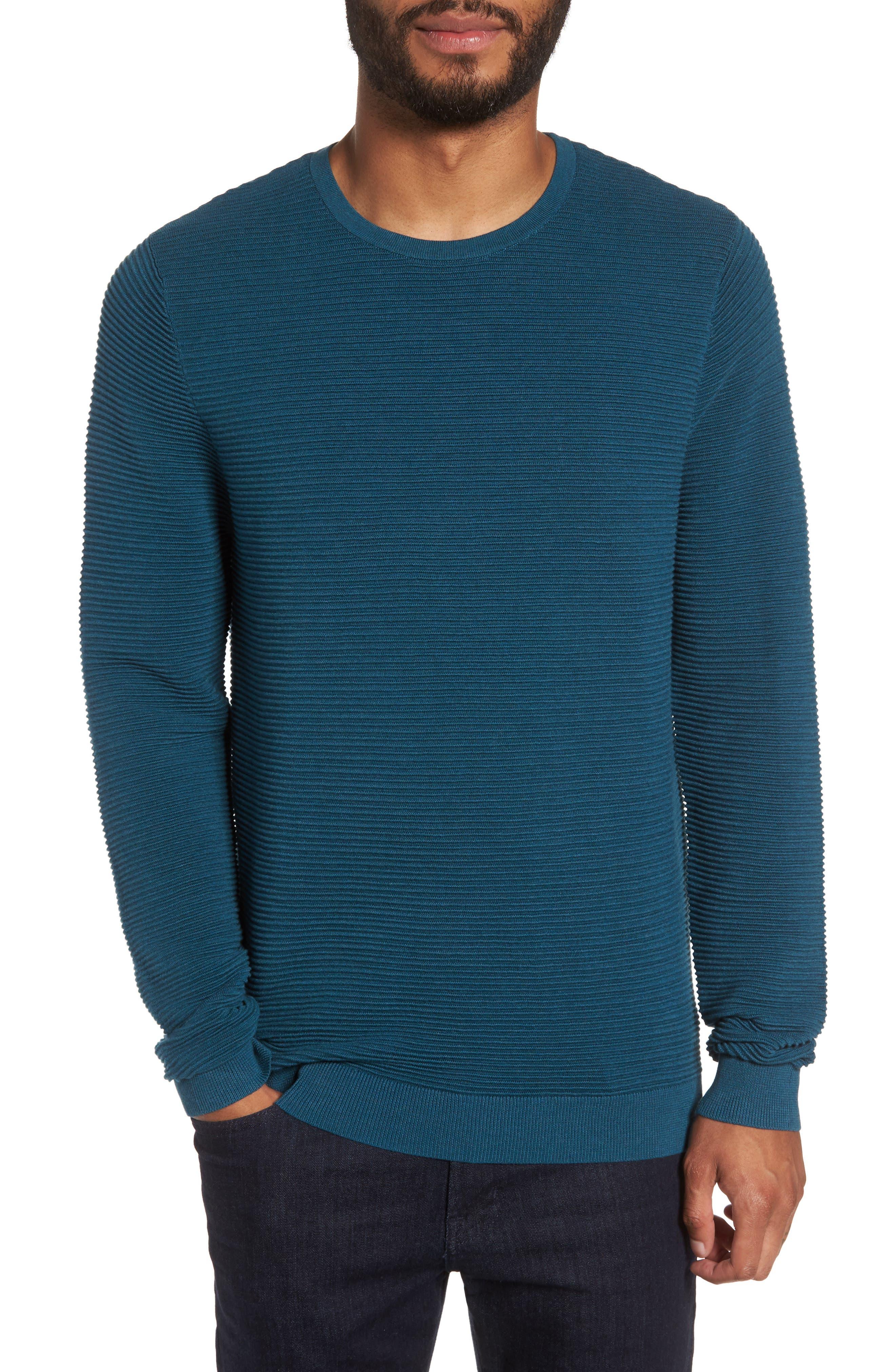 Ottoman Ribbed Crewneck Sweater,                         Main,                         color, Teal Seagate