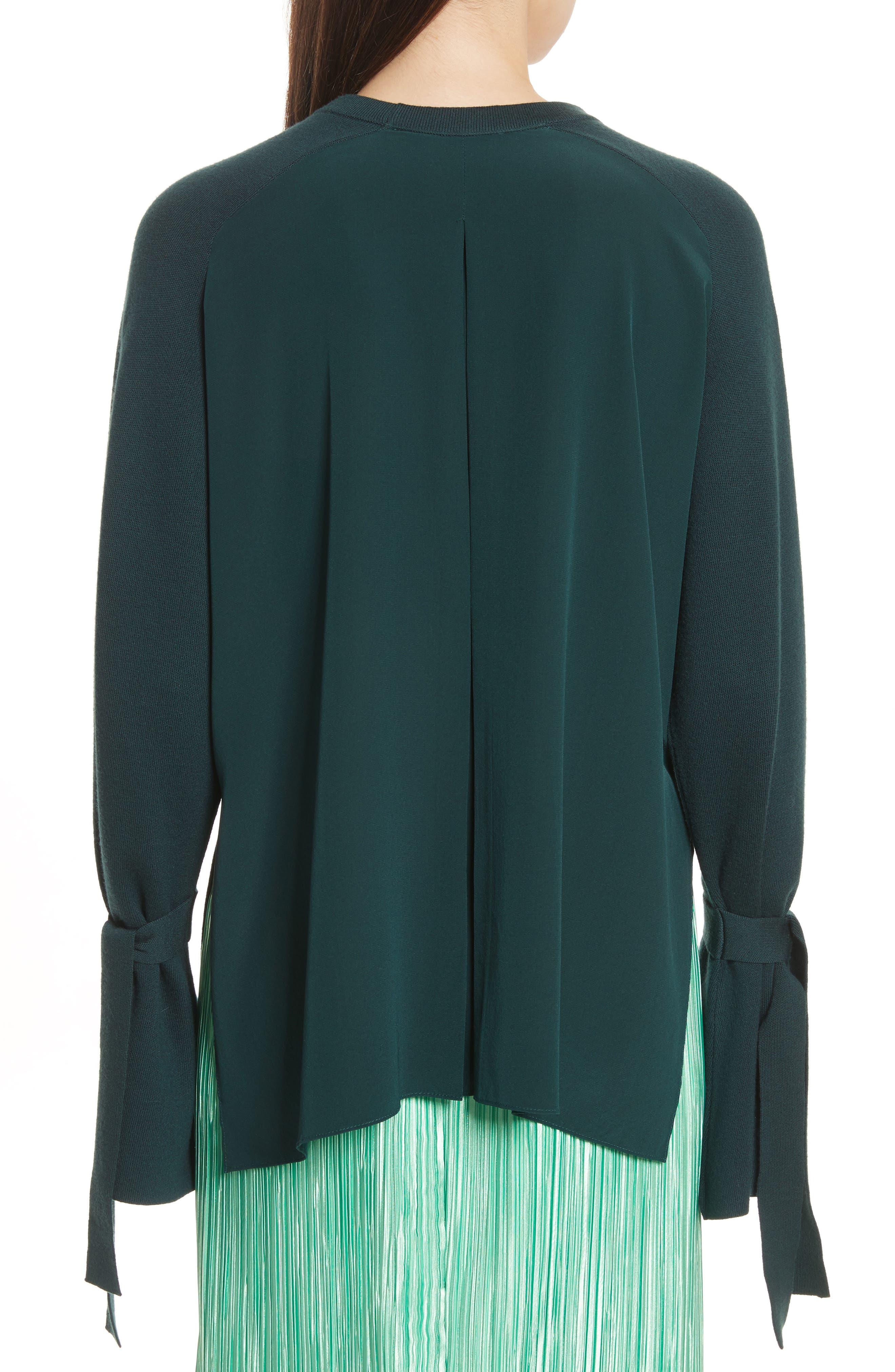 Merino Wool & Silk Bell Sleeve Pullover,                             Alternate thumbnail 2, color,                             Dark Green