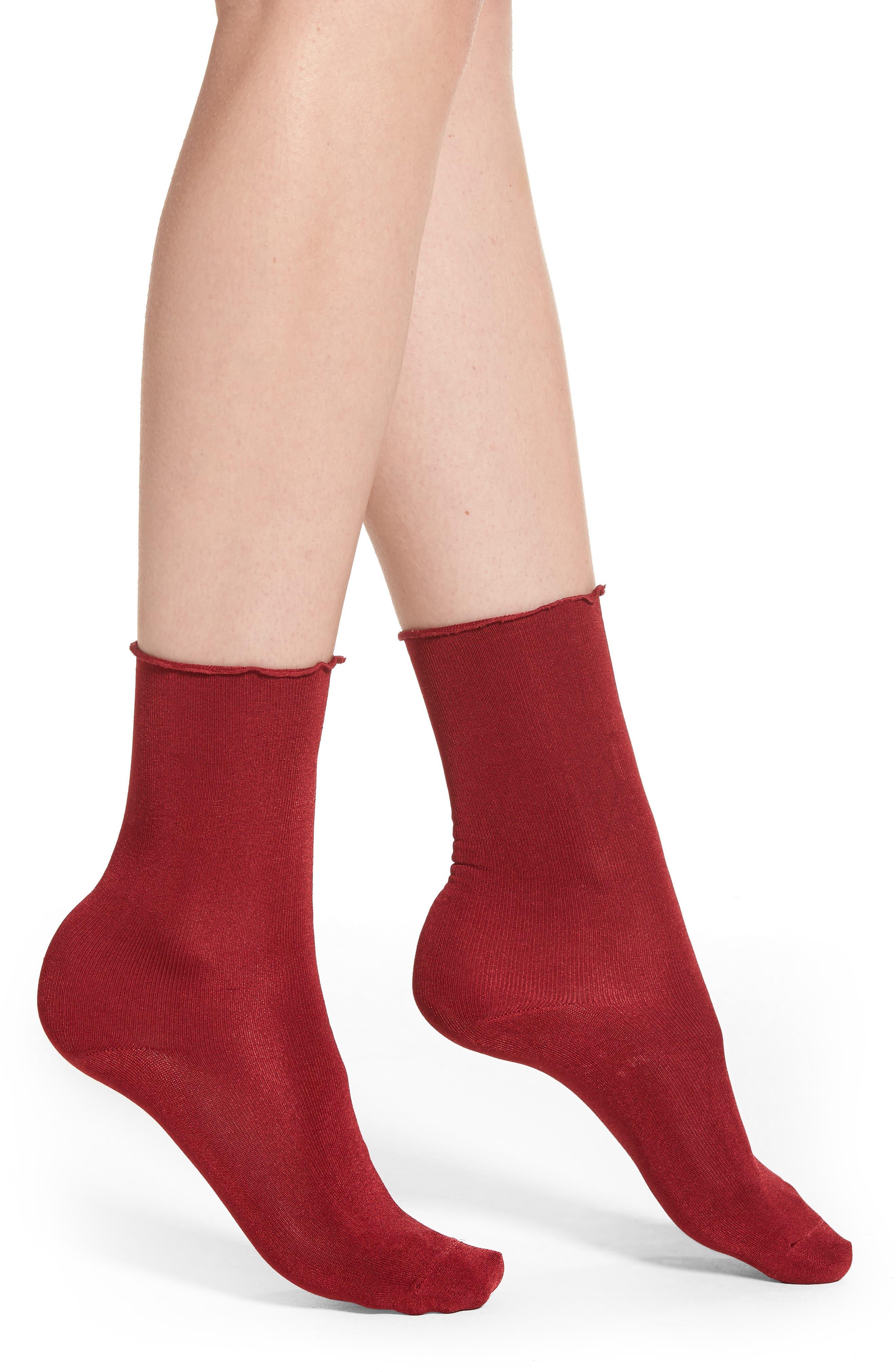 Ruffled Luster Socks,                             Main thumbnail 1, color,                             Sangria