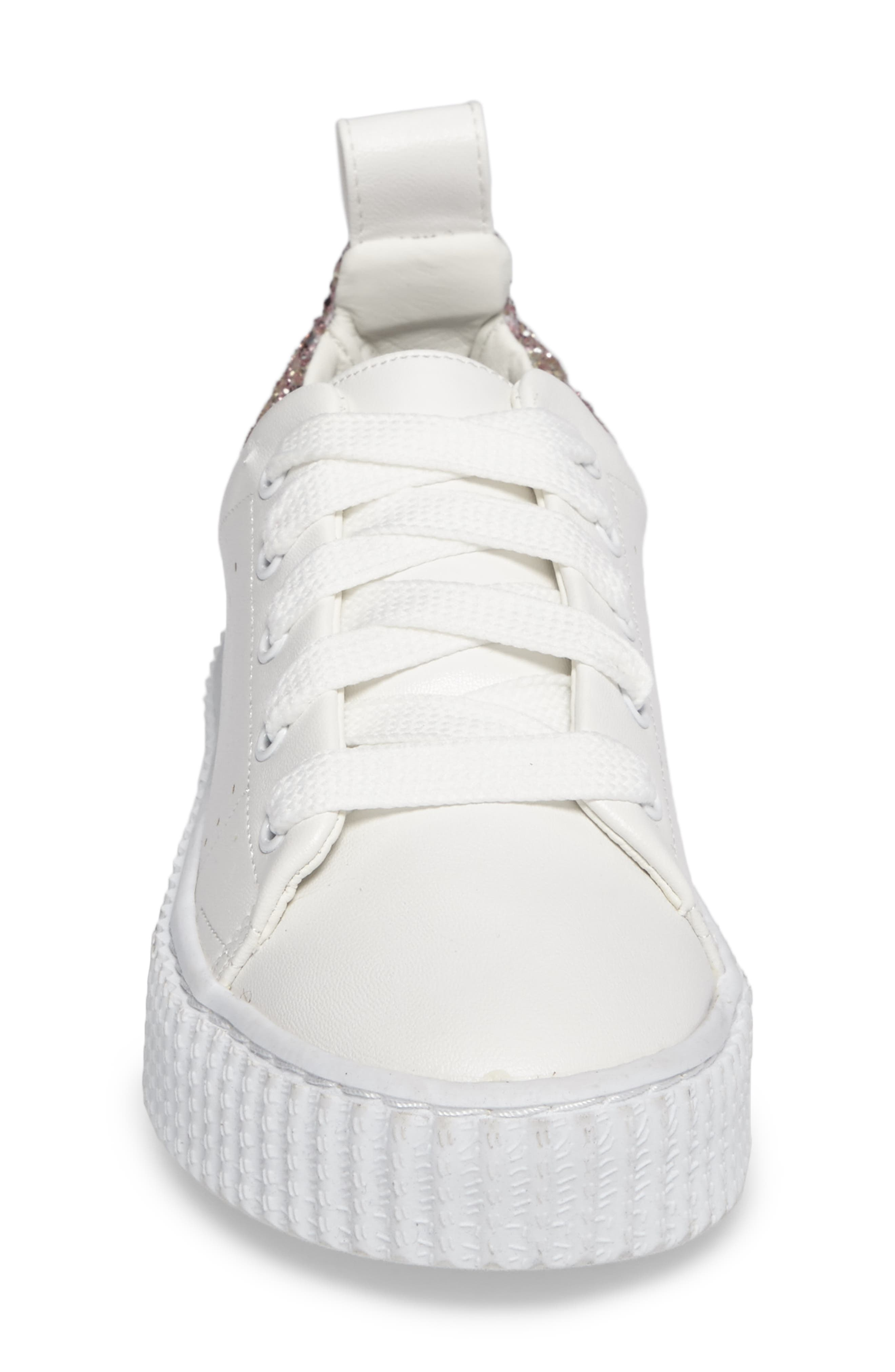 Wren Glitter Heel Sneaker,                             Alternate thumbnail 4, color,                             White