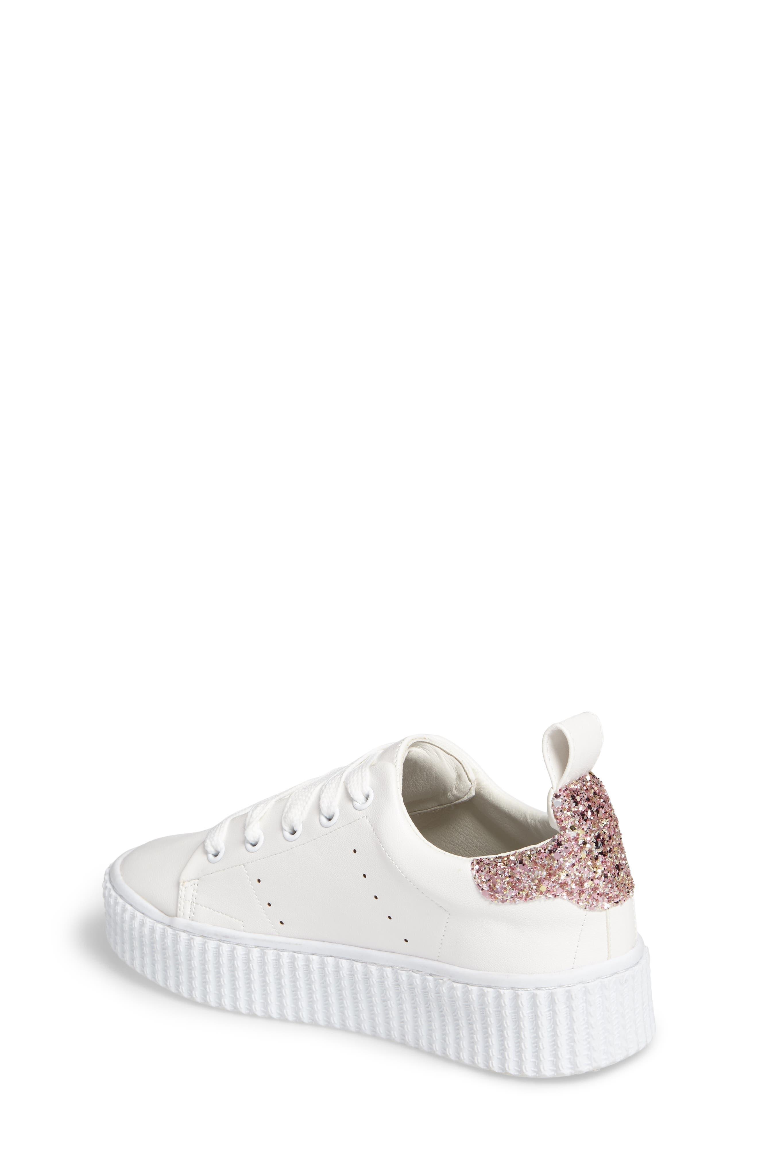 Wren Glitter Heel Sneaker,                             Alternate thumbnail 2, color,                             White