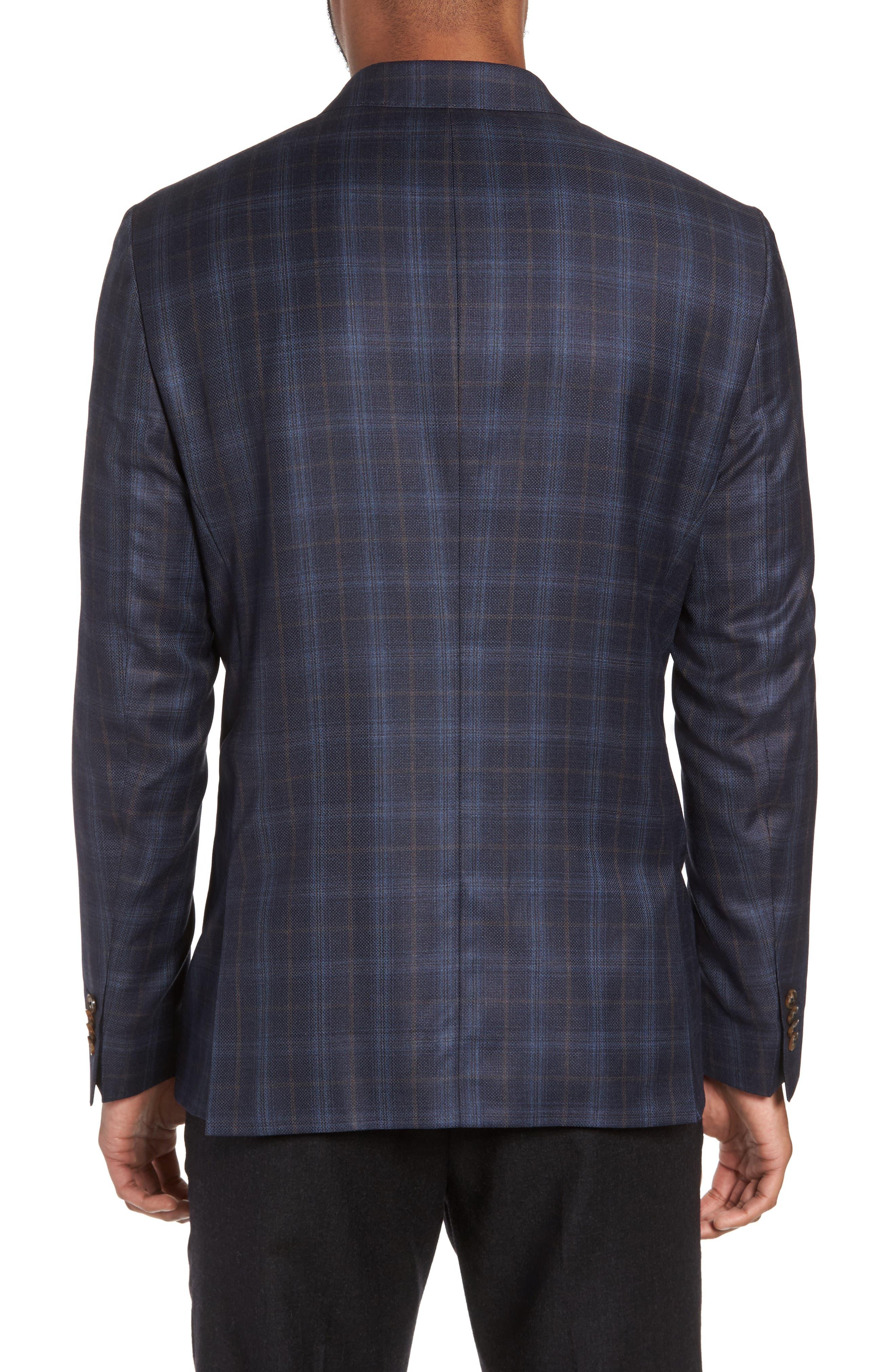 Alternate Image 2  - Sand Trim Fit Plaid Wool Sport Coat