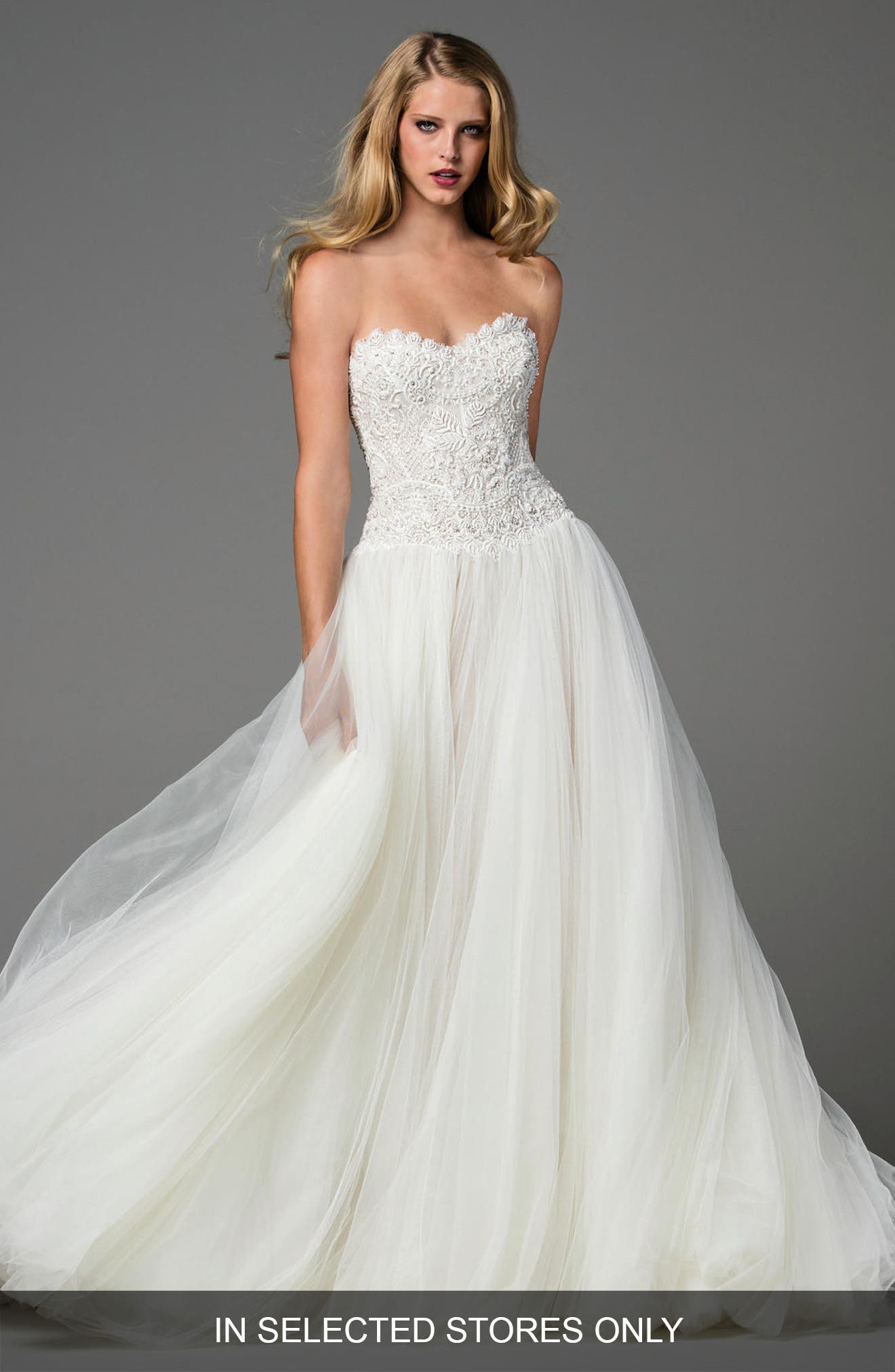 Main Image - Watters Marlia Embellished Charmeuse Gown