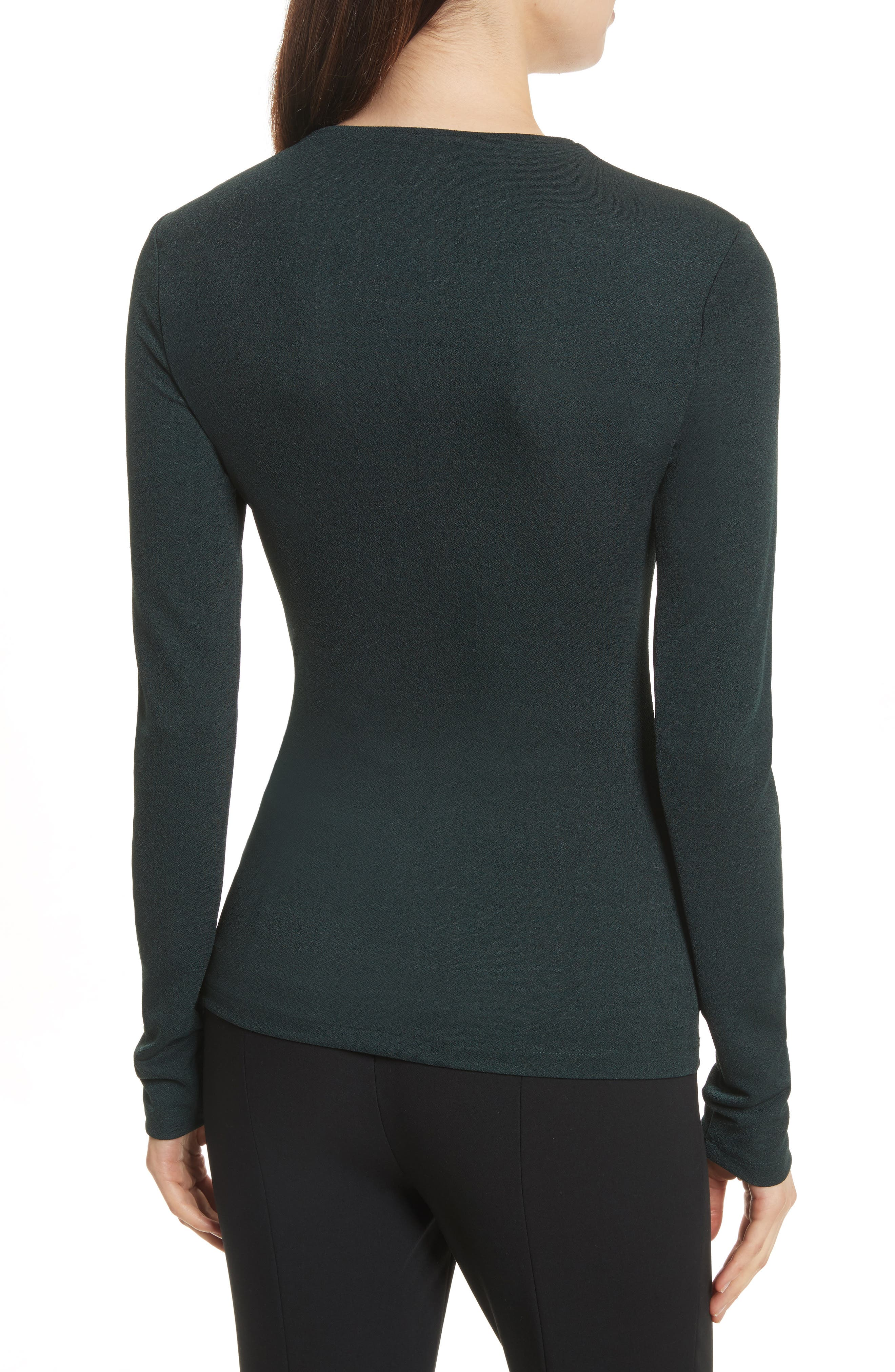 Ruched Crepe Knit Tee,                             Alternate thumbnail 2, color,                             Spruce