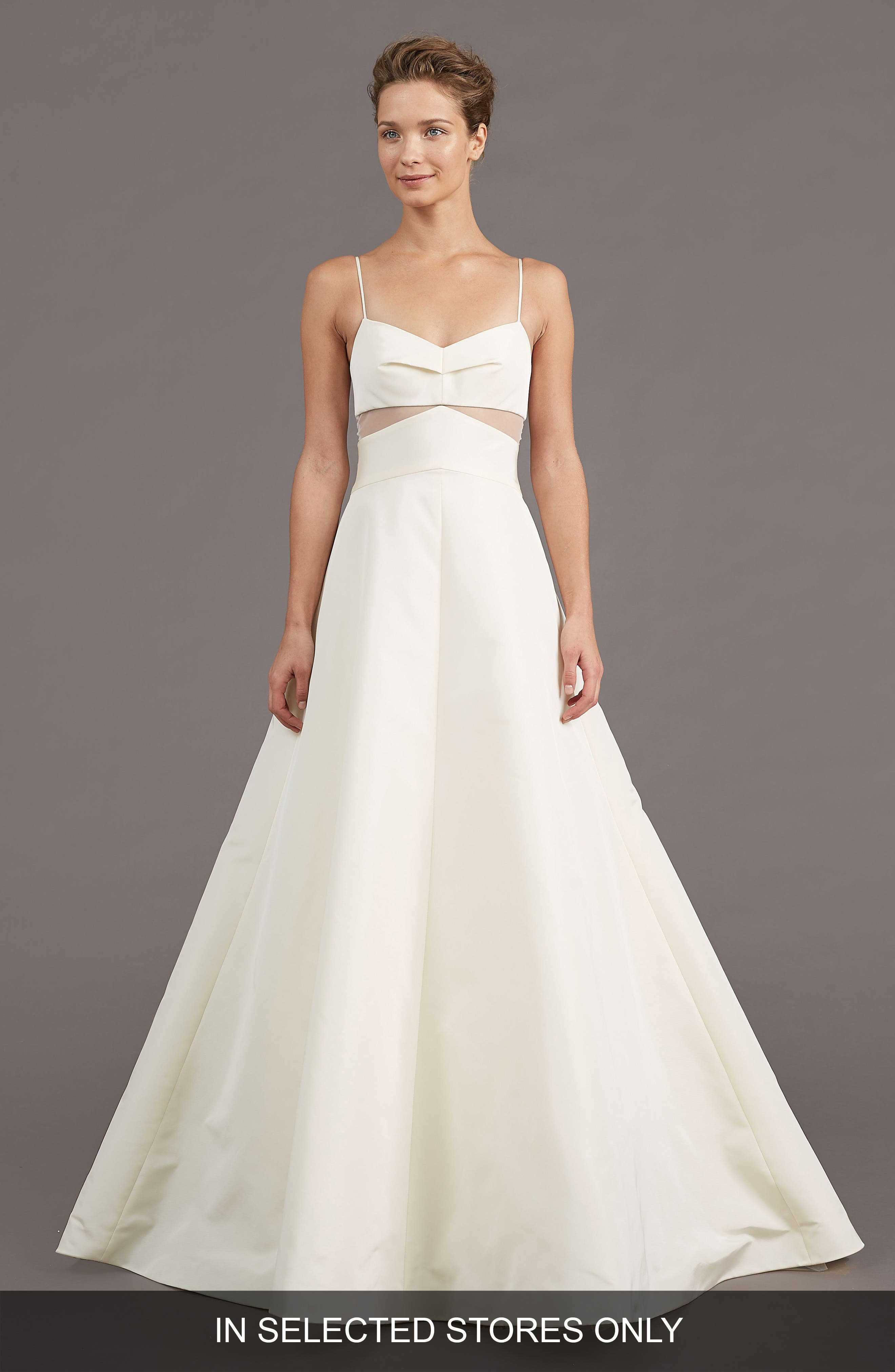 AMSALE Uma Silk Blend A-Line Gown in Ivory