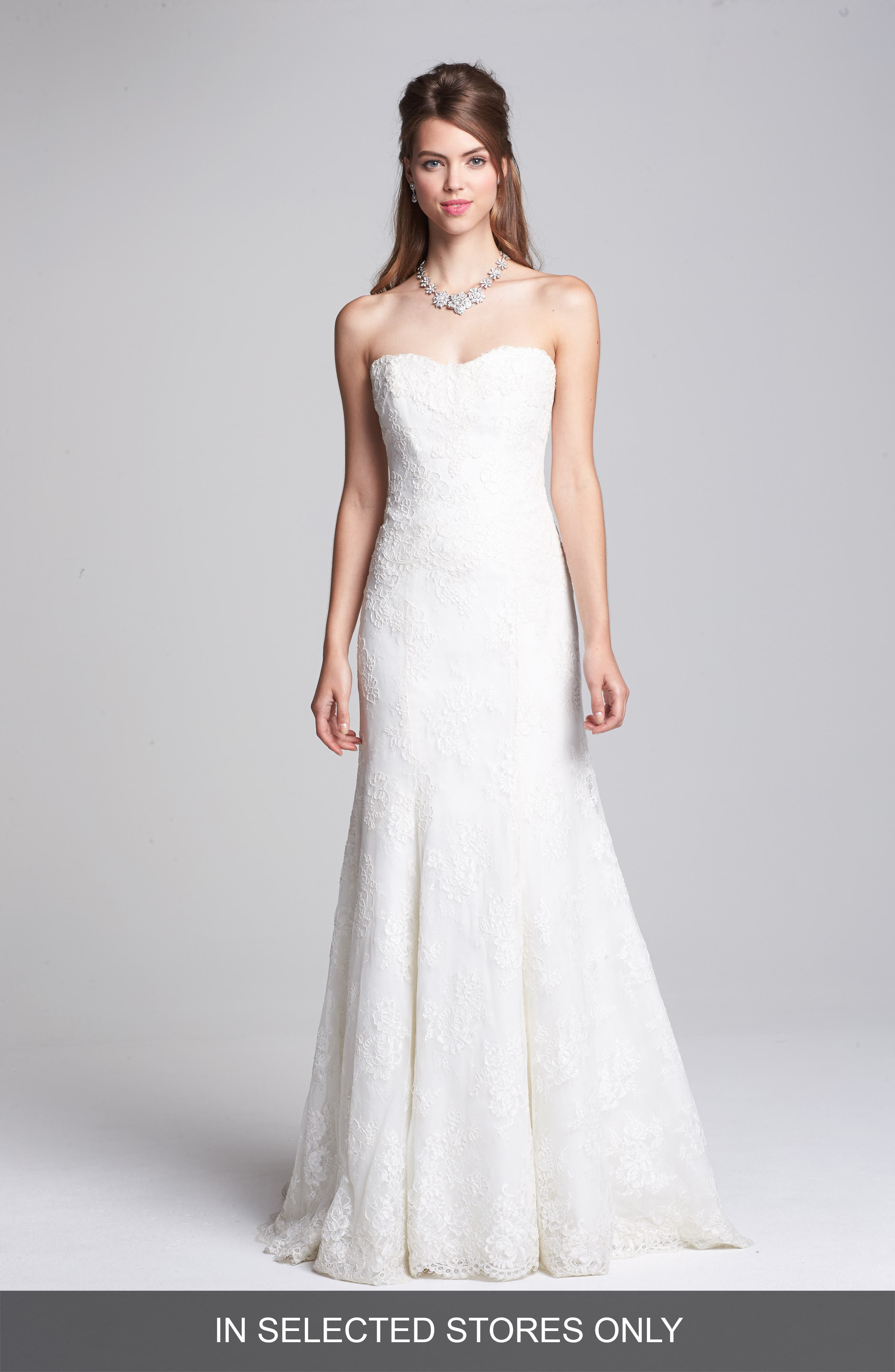Embroidered Lace Trumpet Dress,                         Main,                         color, Ivory