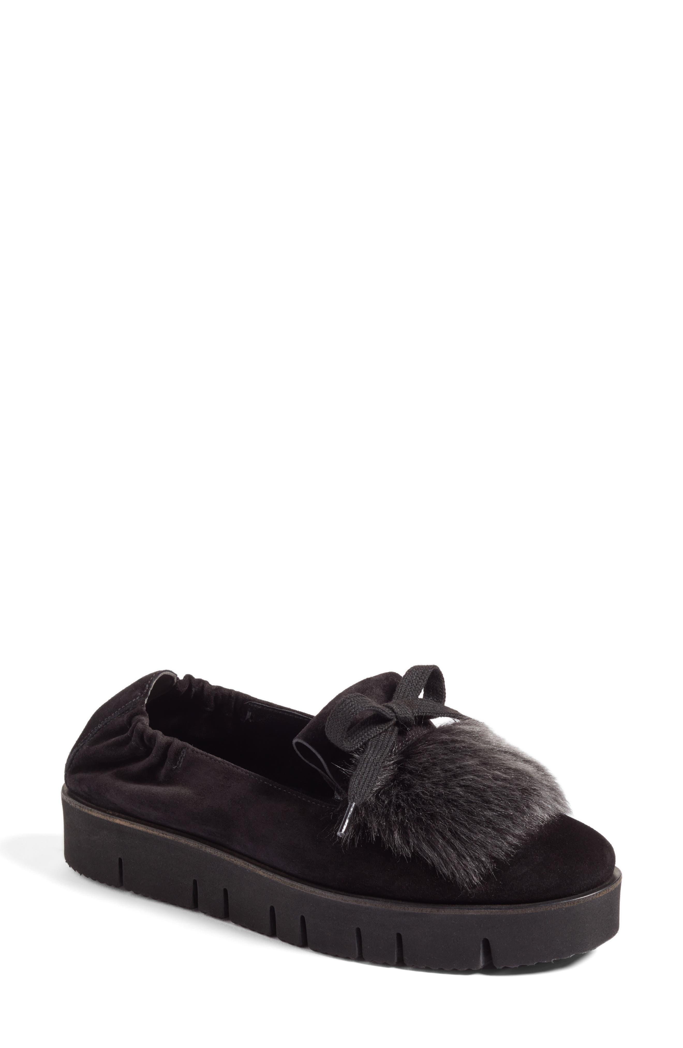 Kennel & Schmenger Malu Suede & Genuine Shearling Slip-On Sneaker,                             Main thumbnail 1, color,                             Black