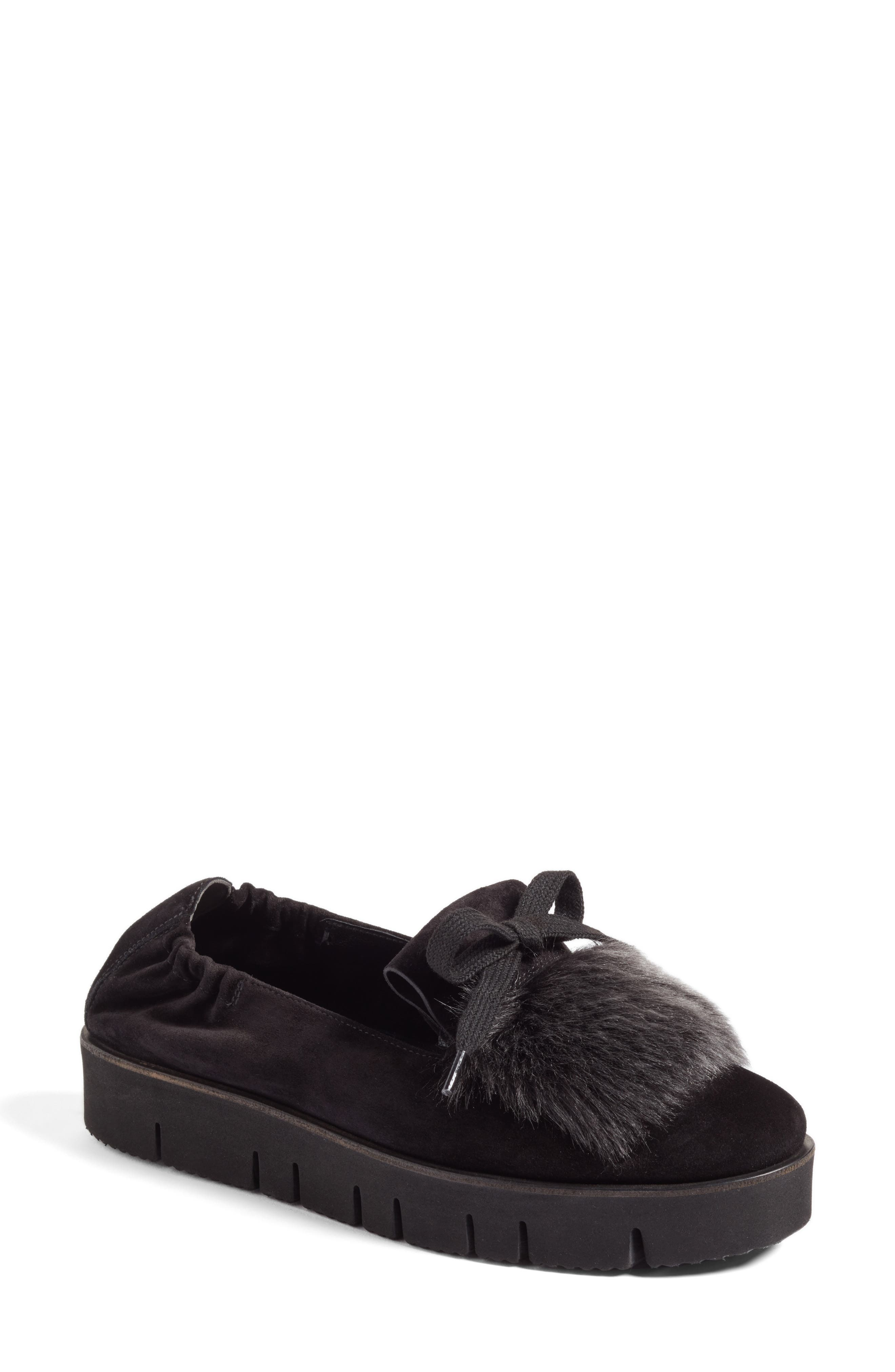 Kennel & Schmenger Malu Suede & Genuine Shearling Slip-On Sneaker,                         Main,                         color, Black