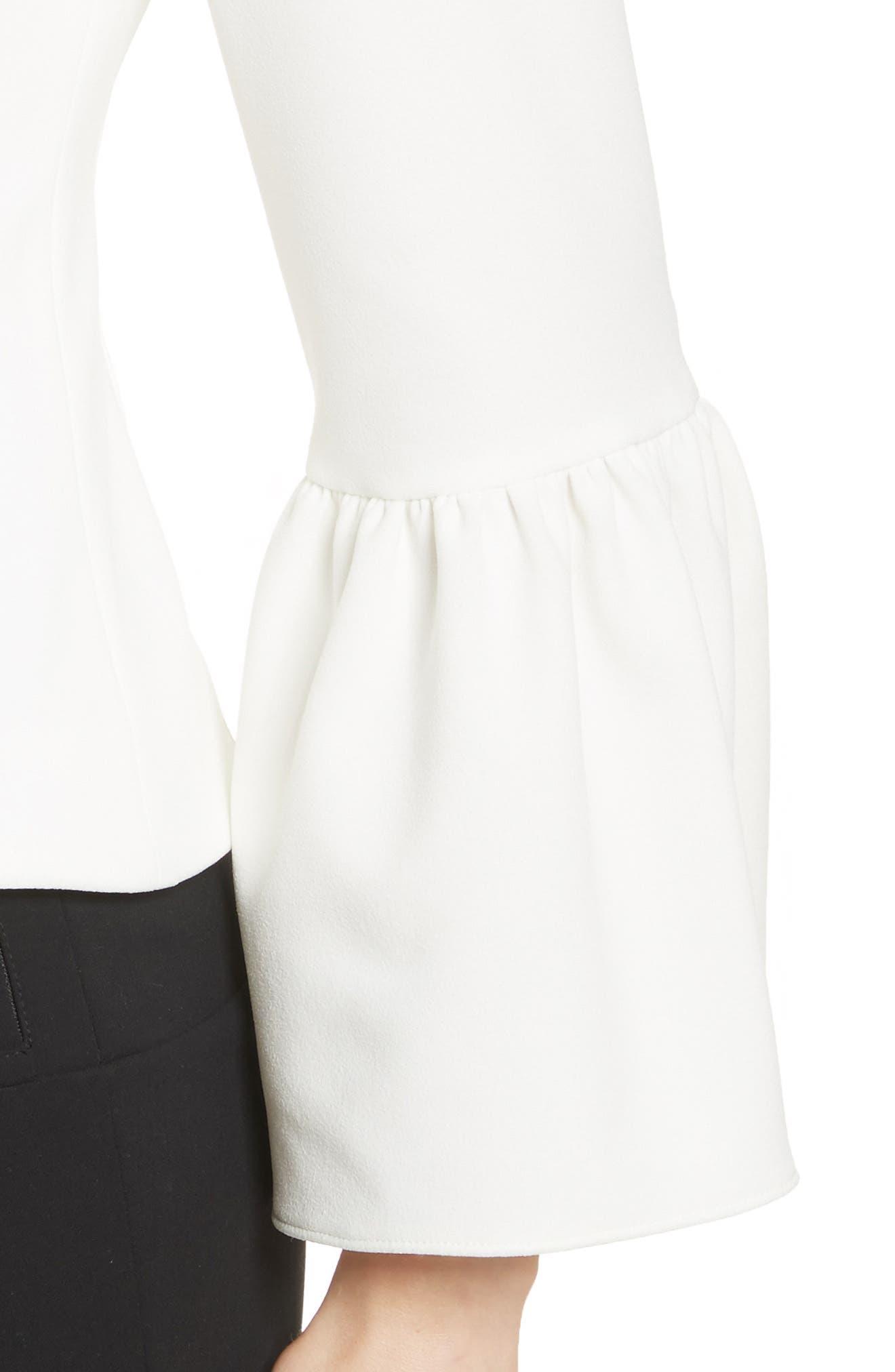 Stretch Crepe Corset Top,                             Alternate thumbnail 4, color,                             White