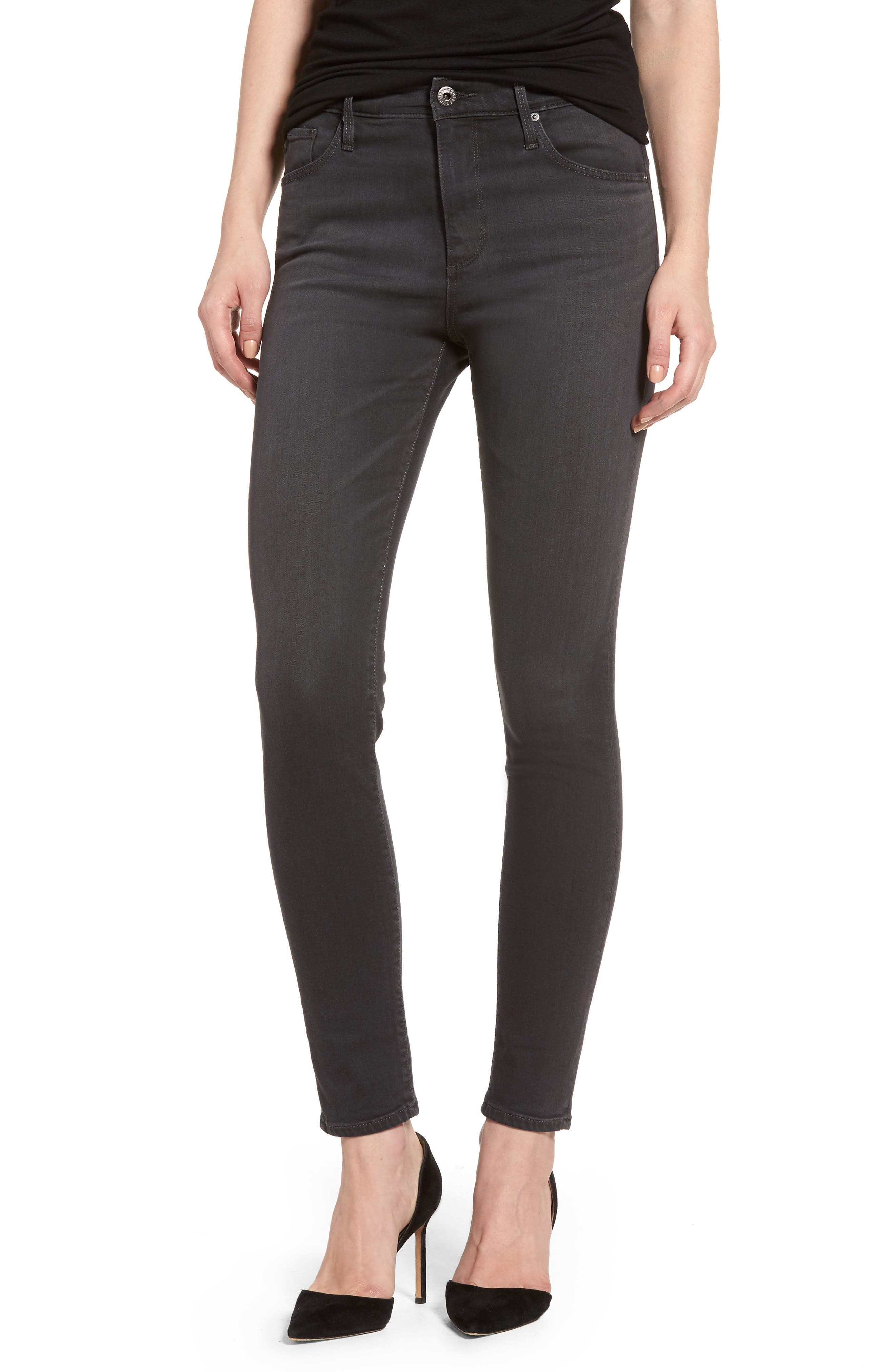 Alternate Image 1 Selected - AG Farrah High Waist Ankle Skinny Jeans (Grey Mist)