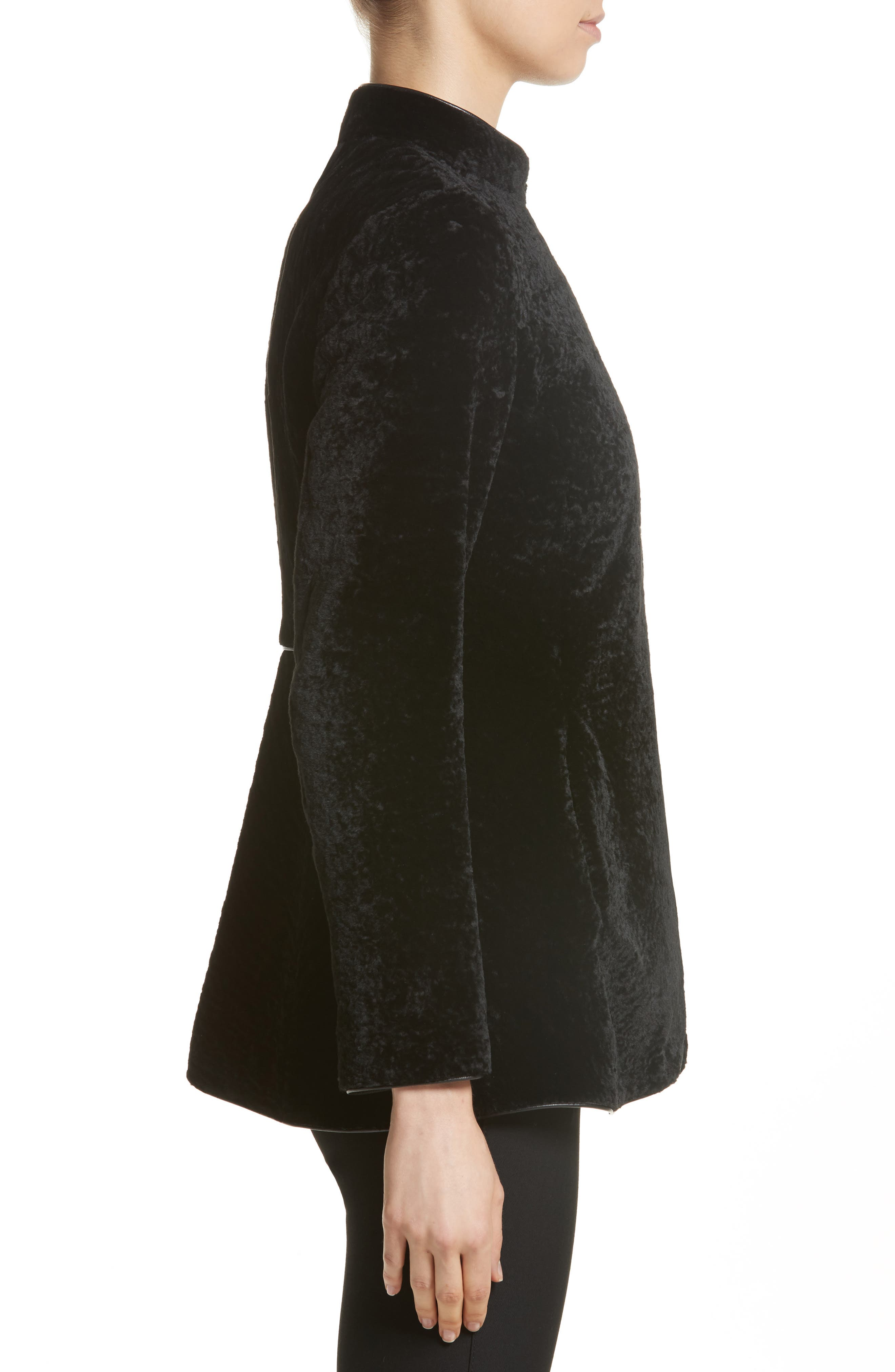 Genuine Shearling Jacket,                             Alternate thumbnail 3, color,                             Black