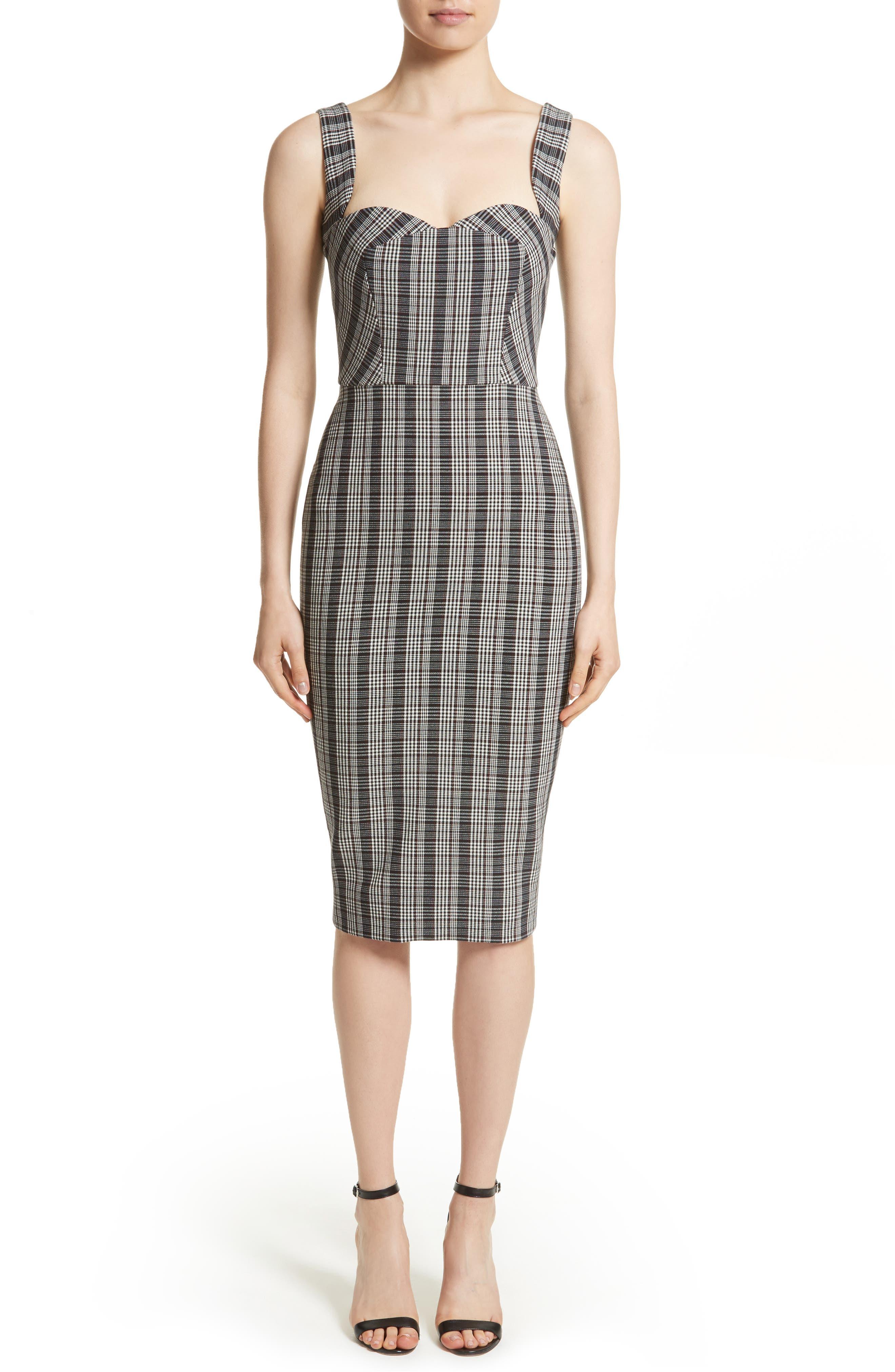 Plaid Curve Cami Dress,                         Main,                         color, White/ Black/ Red