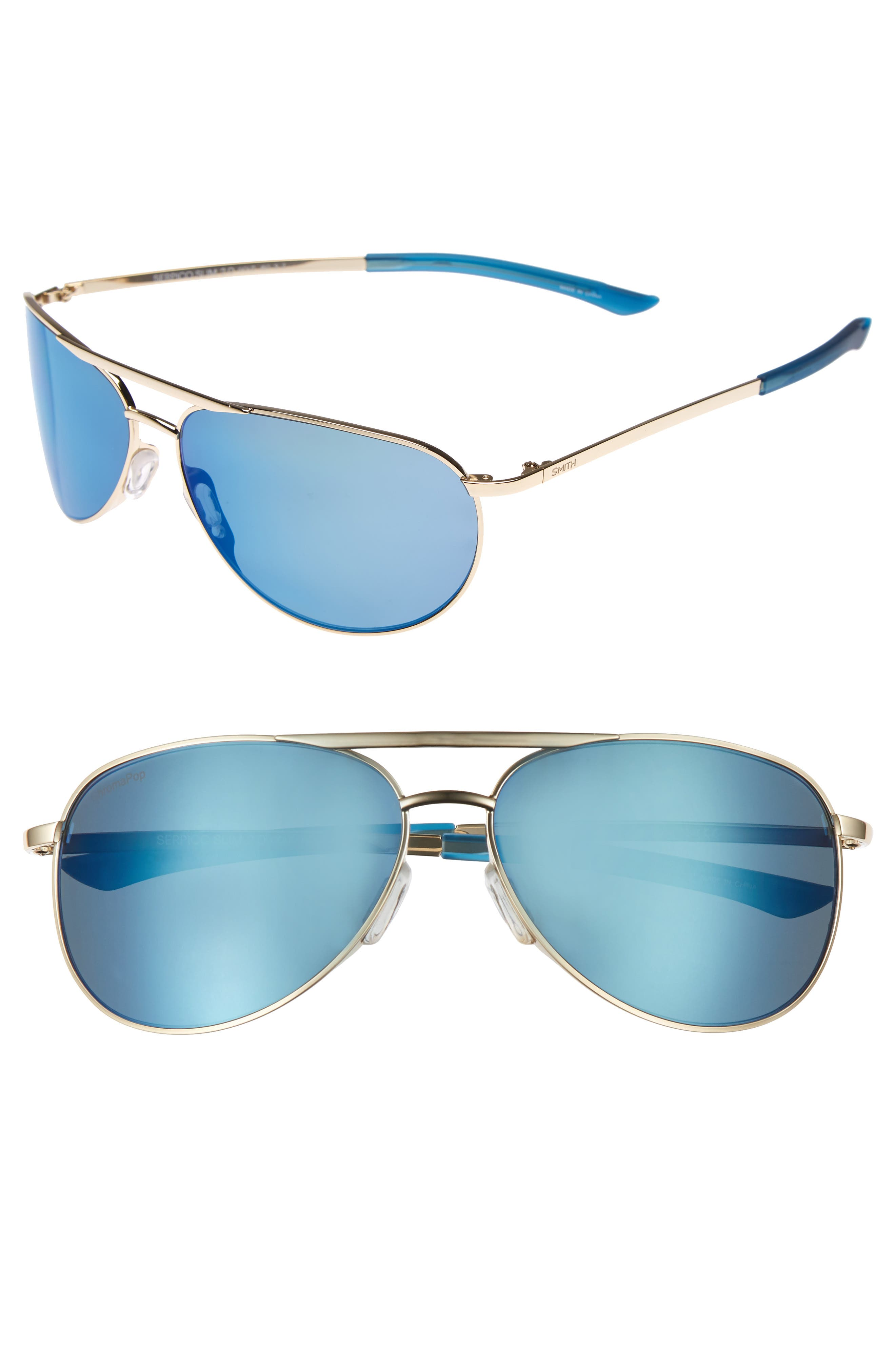 Serpico Slim 2.0 60mm ChromaPop Polarized Aviator Sunglasses,                         Main,                         color, Gold/ Blue Polar