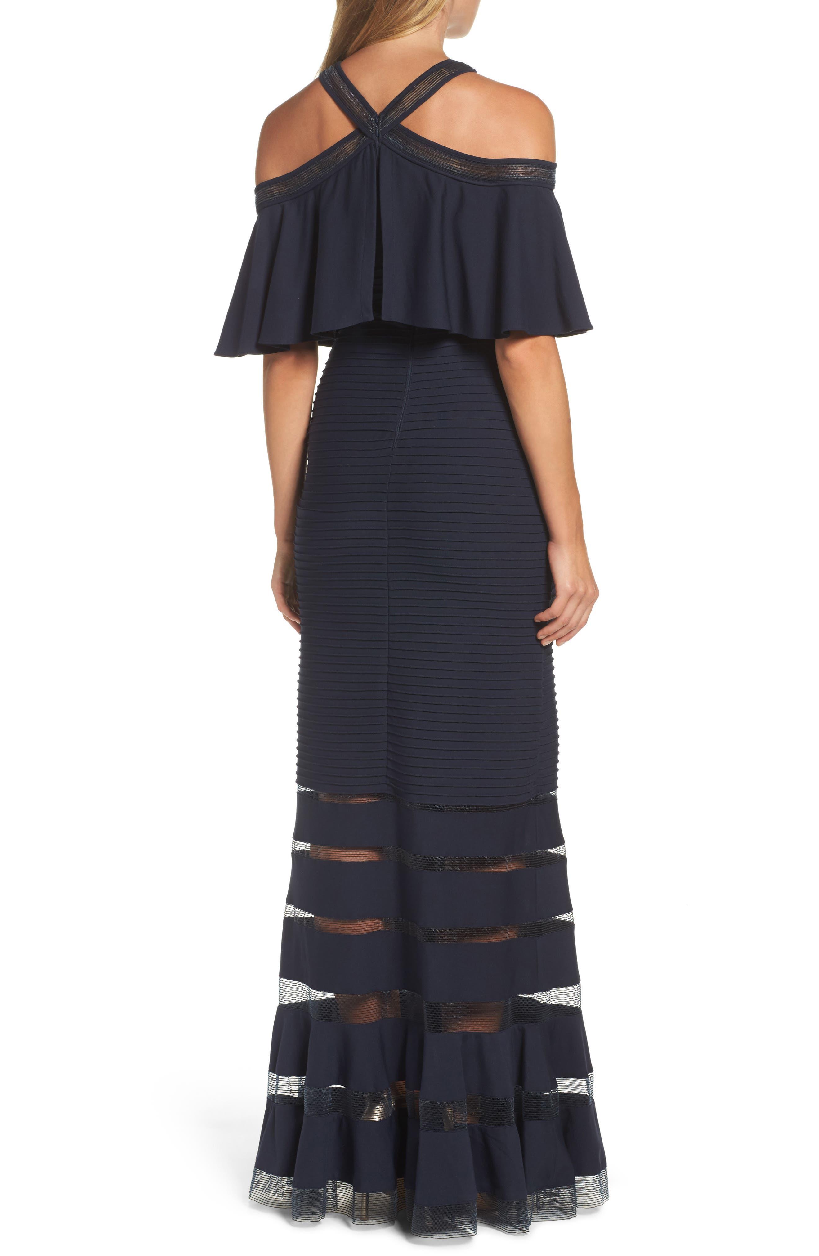 Alternate Image 2  - Tadashi Shoji Jersey Cold-Shoulder Gown (Regular & Petite)