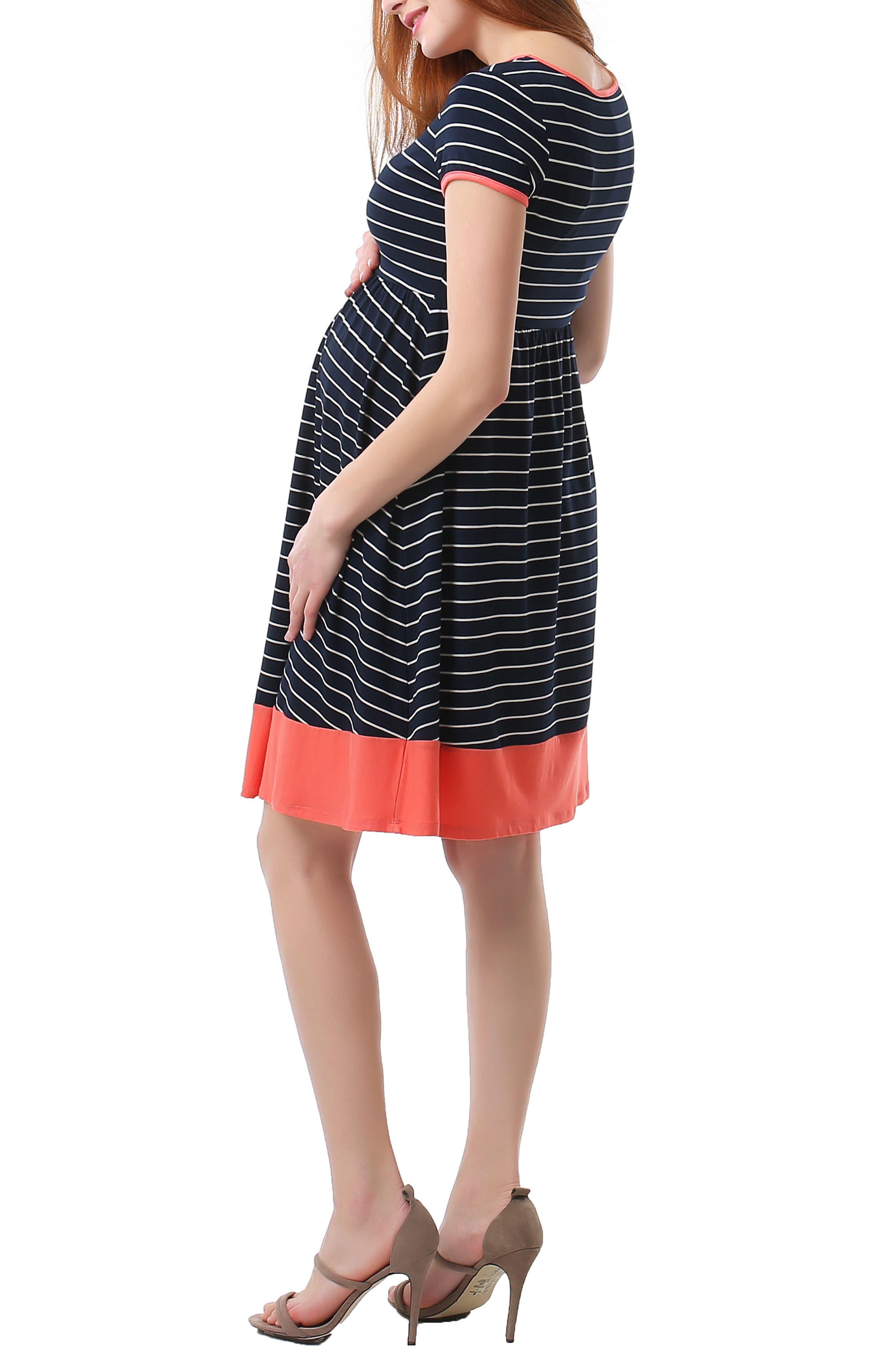 Alternate Image 4  - Kimi and Kai Kira Stripe Maternity Skater Dress