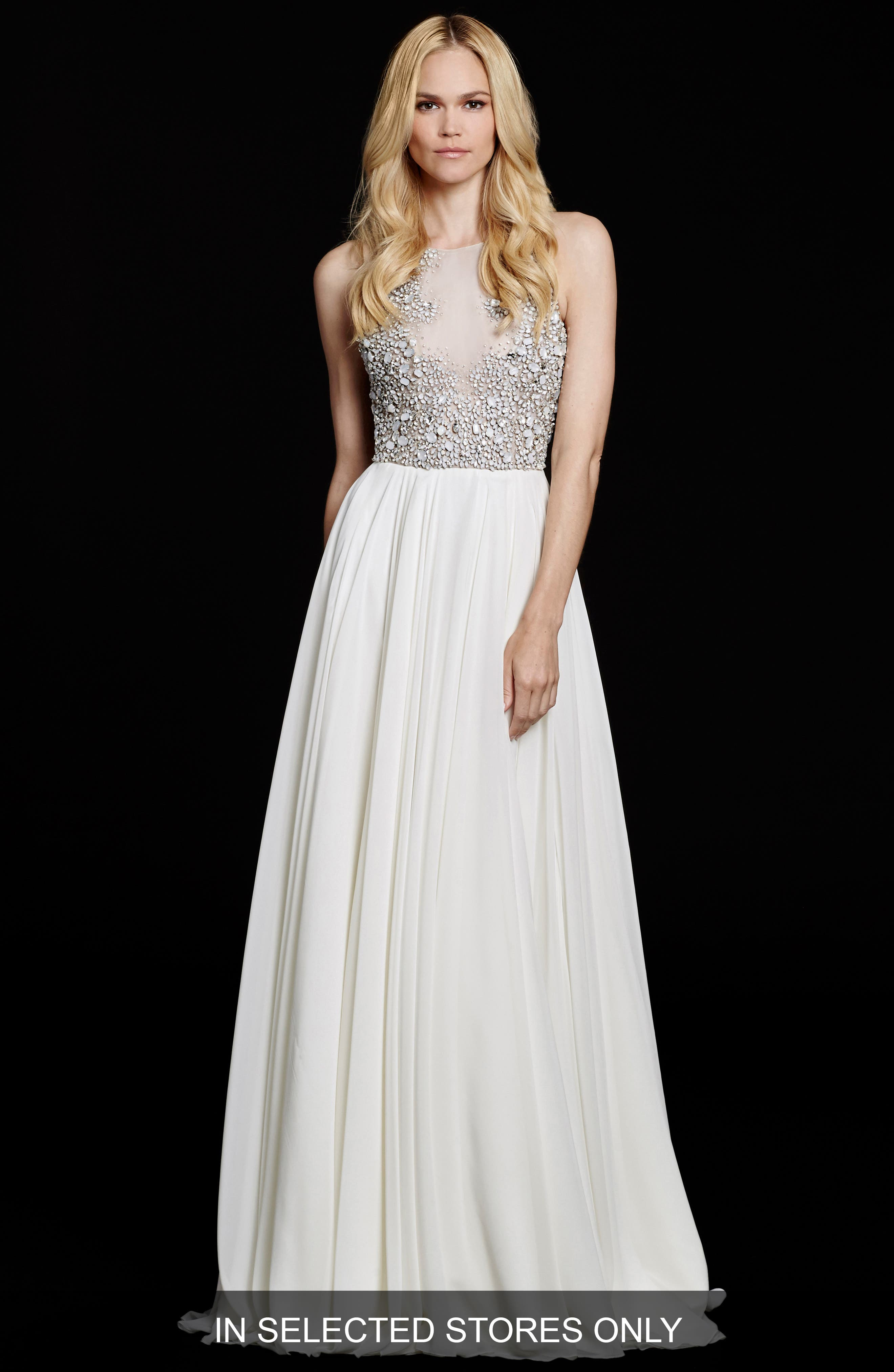 Ellie Embellished Chiffon A-Line Gown,                             Main thumbnail 1, color,                             Ivory