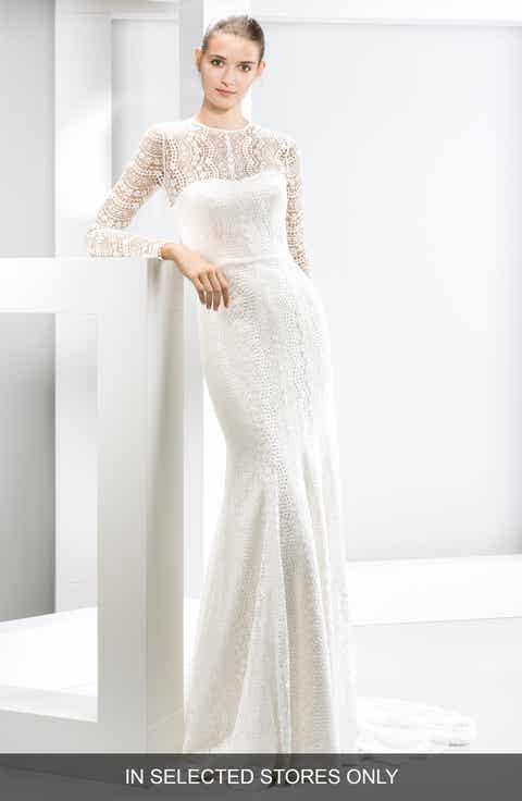 Jesus Peiro Illusion Yoke Lace Mermaid Dress