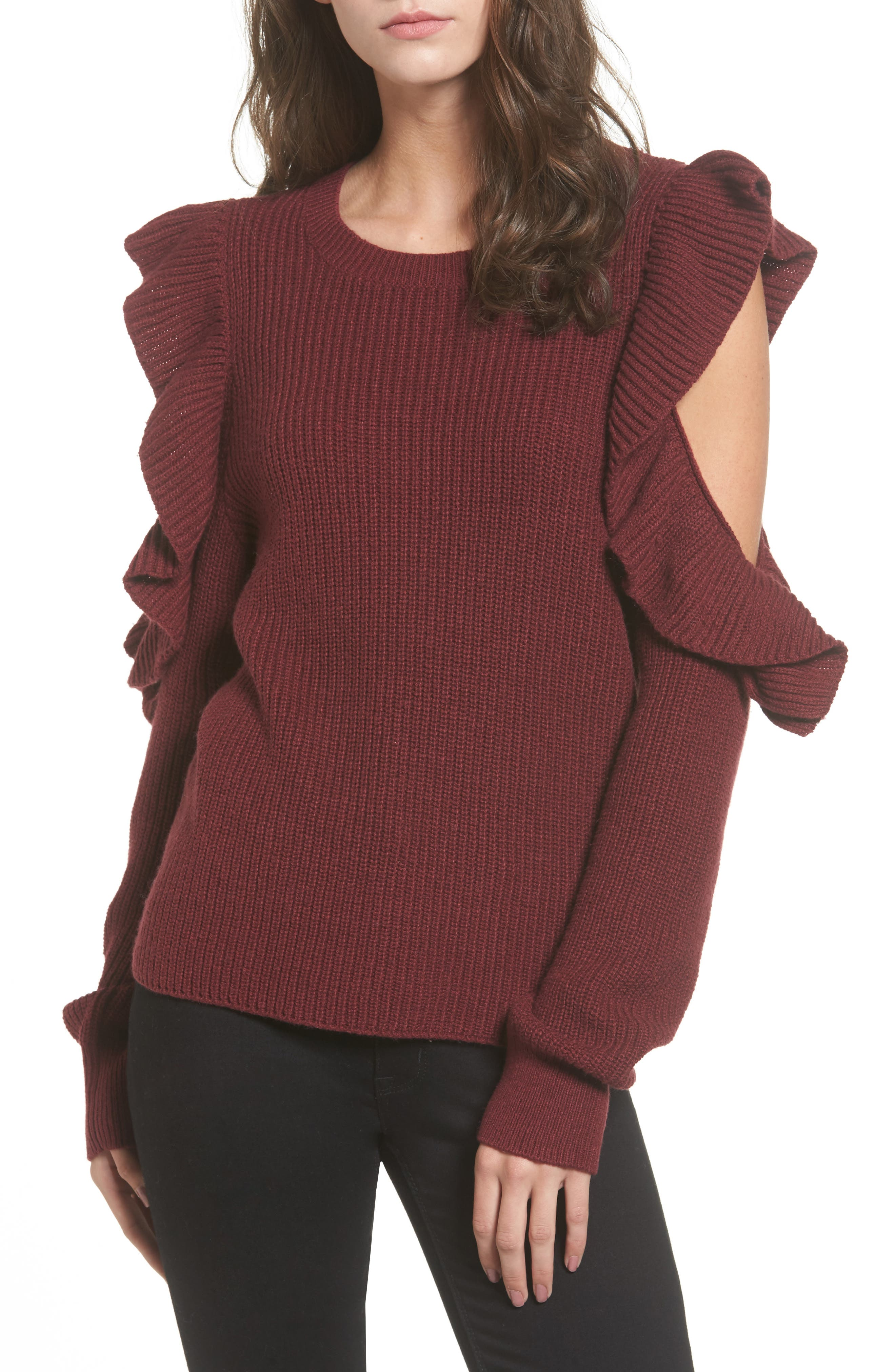 Ruffle Cold Shoulder Sweater,                         Main,                         color, Red Tannin