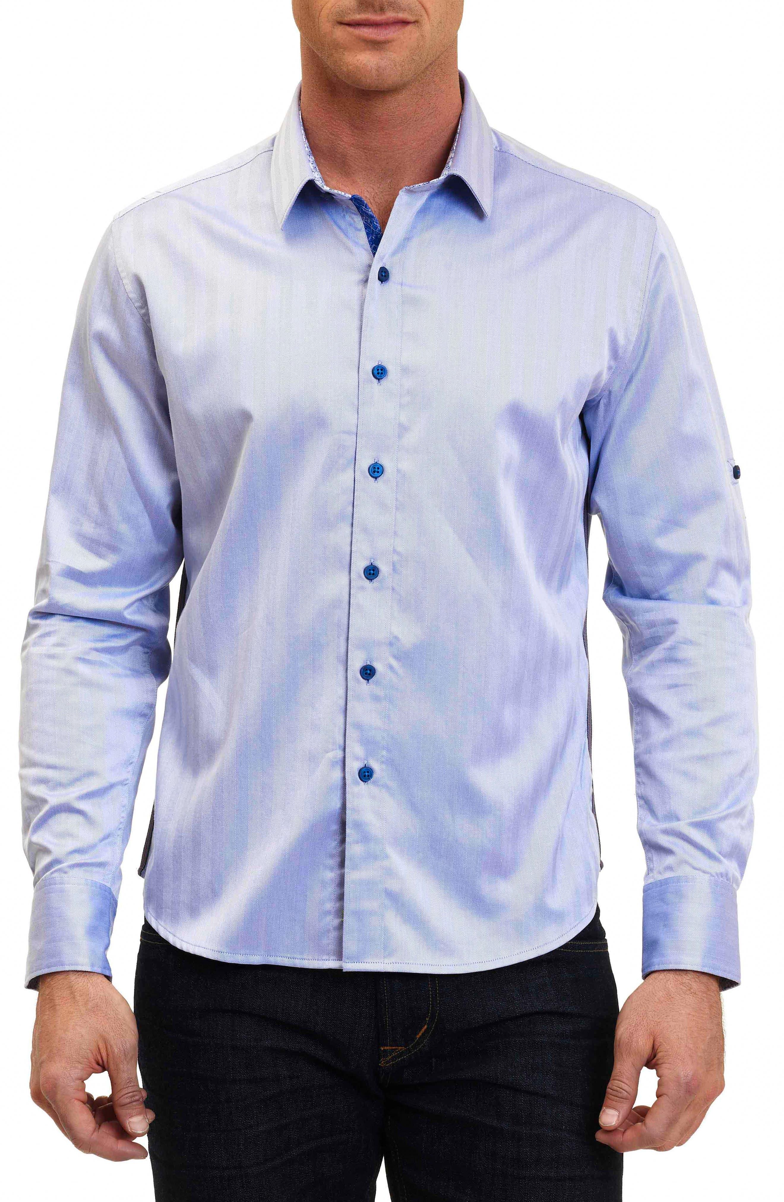 Canton Classic Fit Herringbone Sport Shirt,                             Main thumbnail 1, color,                             Cobalt