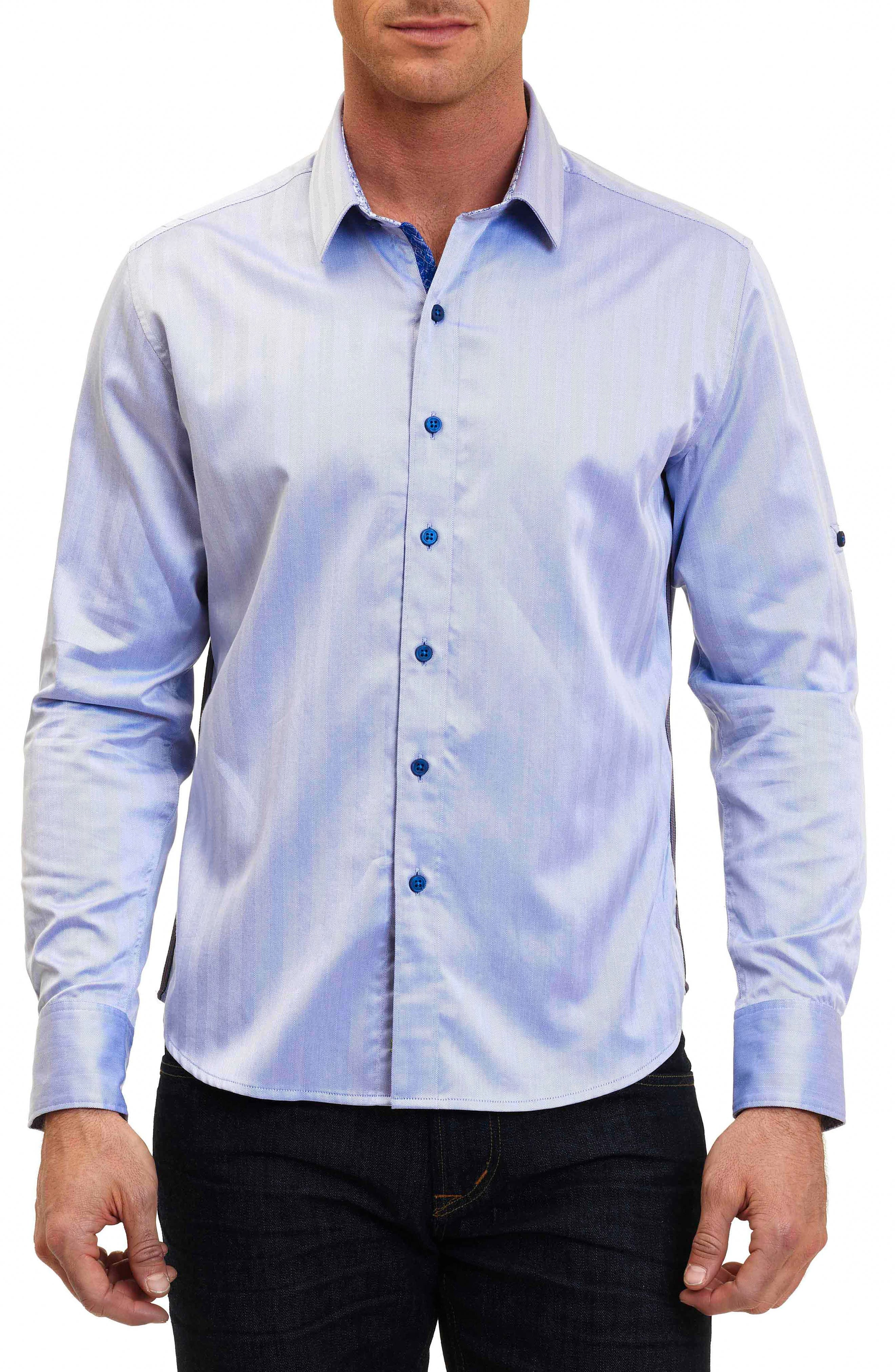 Canton Classic Fit Herringbone Sport Shirt,                         Main,                         color, Cobalt
