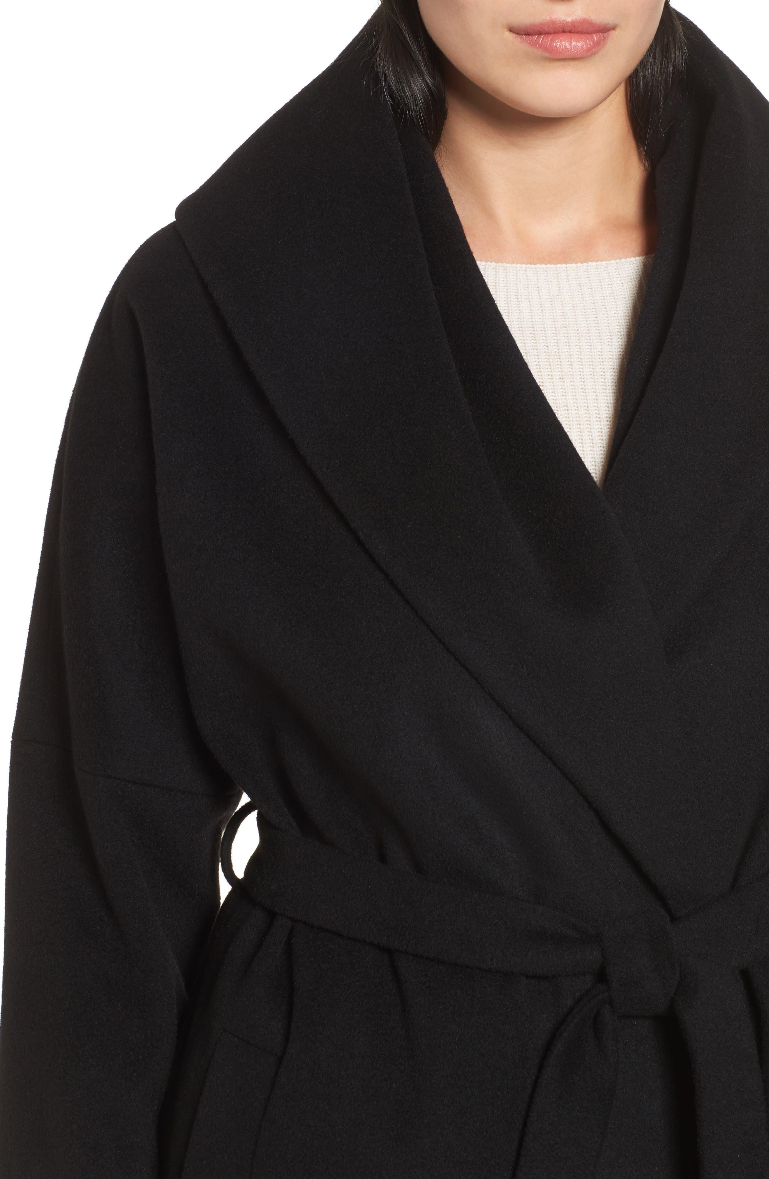 Belted Duster Coat,                             Alternate thumbnail 4, color,                             Black