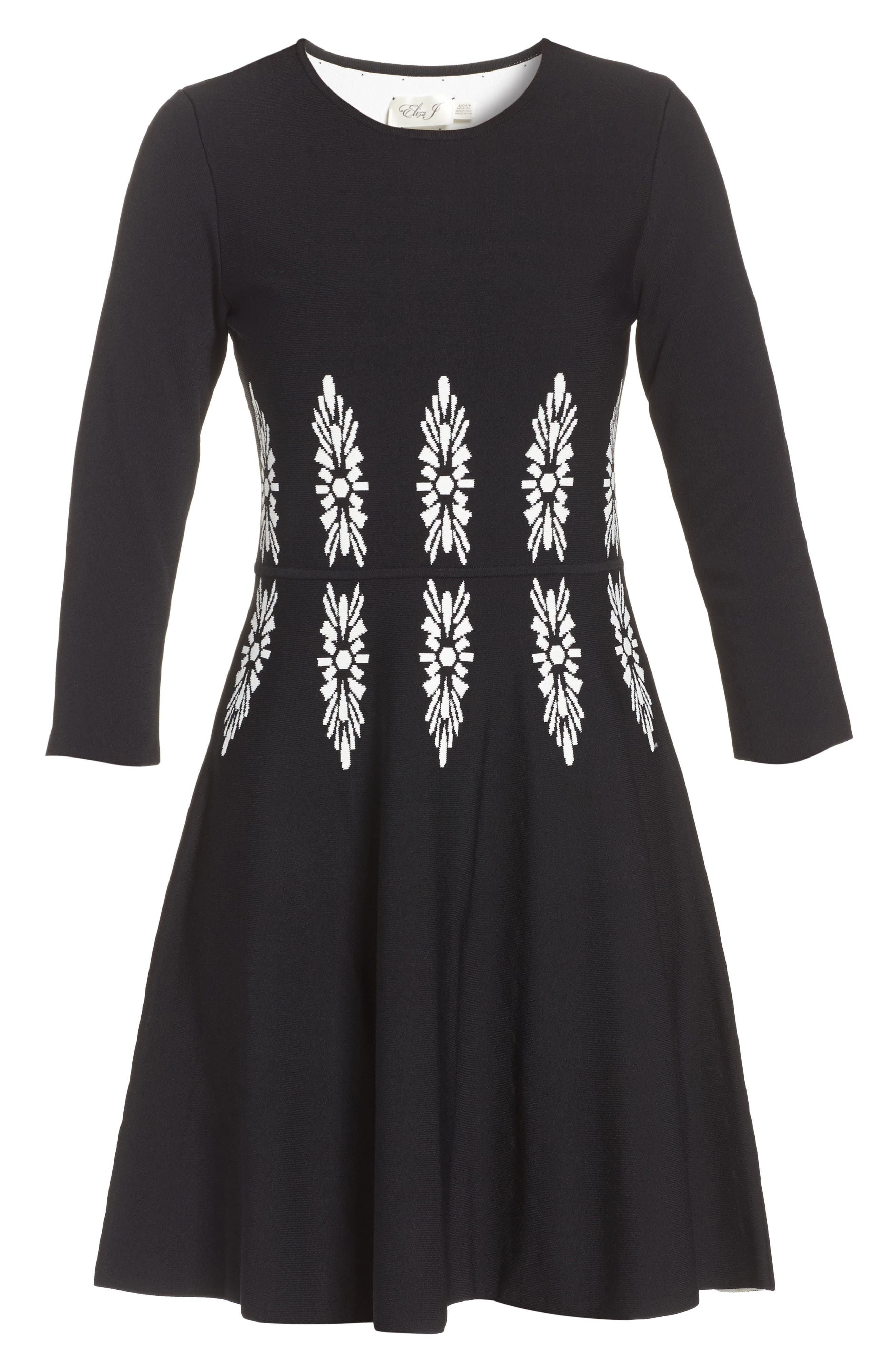 Alternate Image 6  - Eliza J Three-Quarter Sleeve Fit & Flare Dress