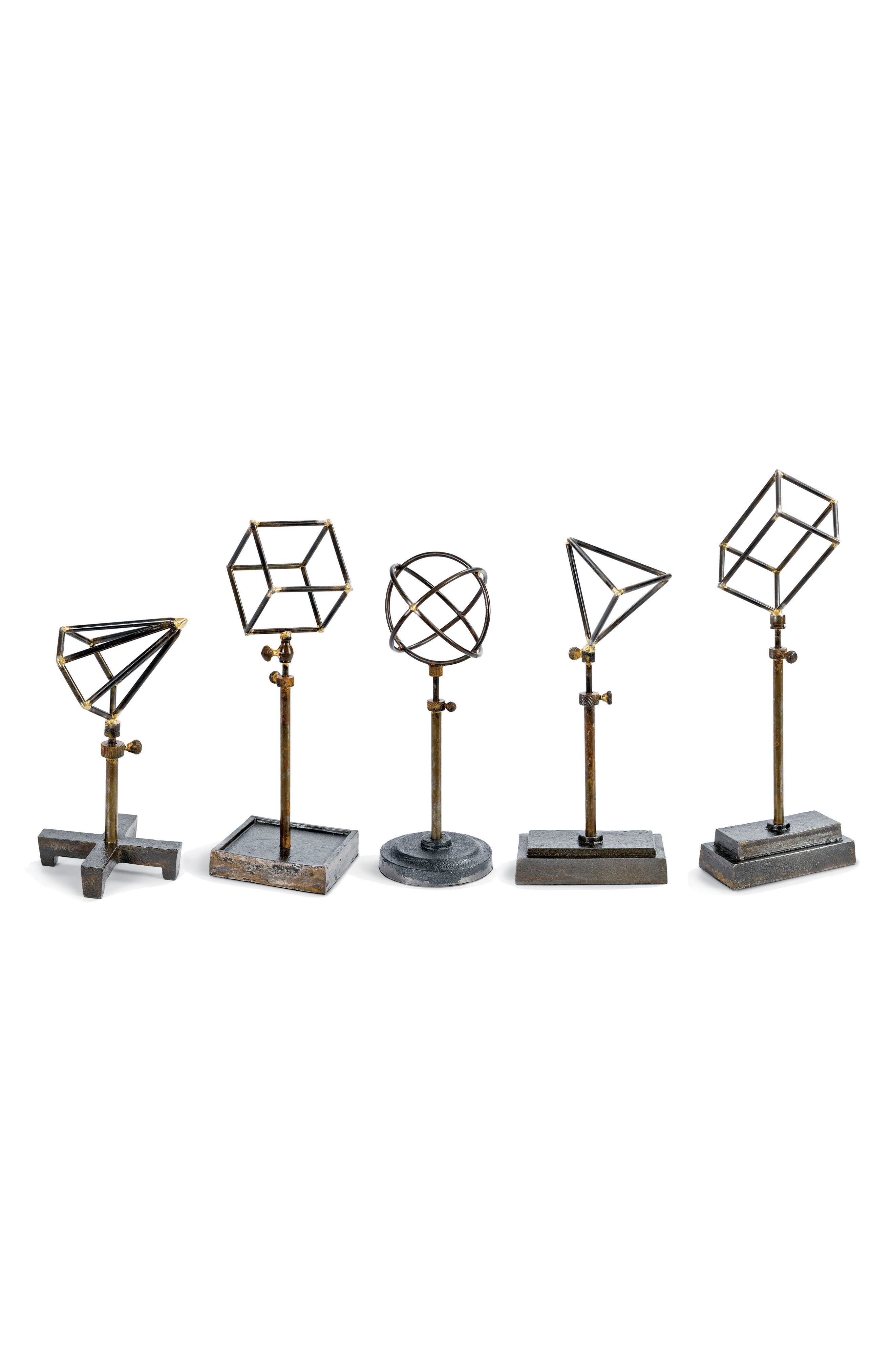 Set of 5 Geometric Sculptures,                             Main thumbnail 1, color,                             Brass