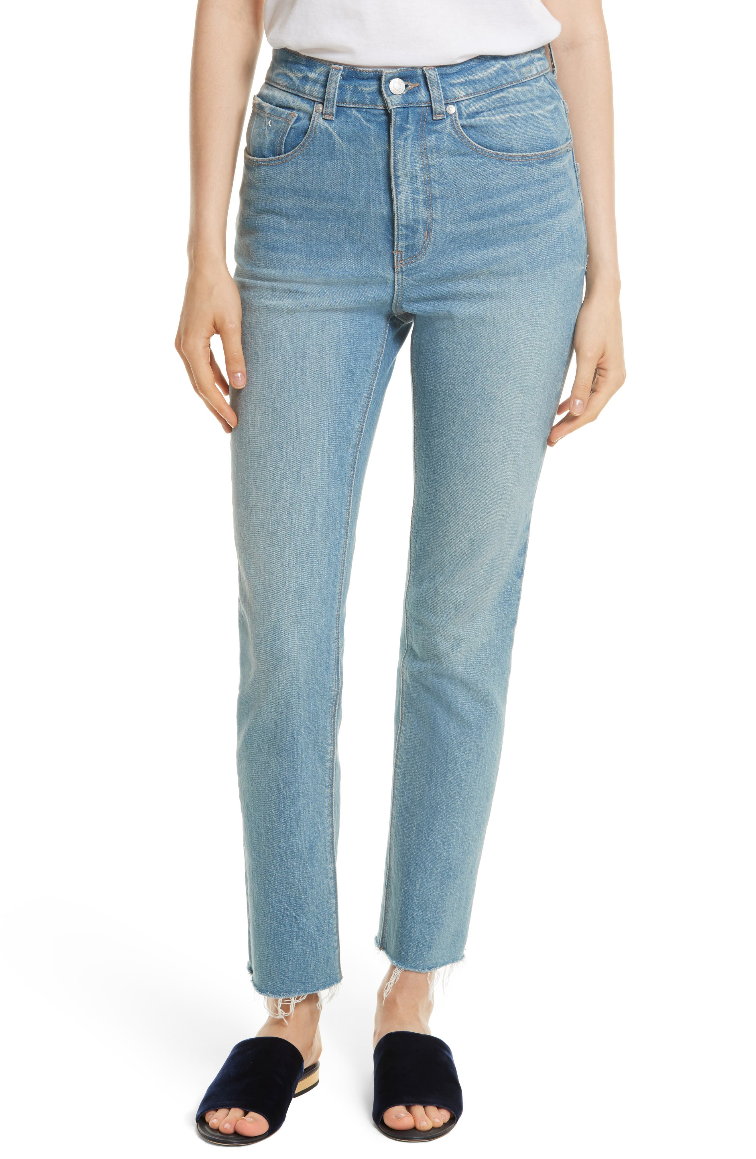 Ines High Waist Ankle Jeans,                         Main,                         color, Bluebell Wash