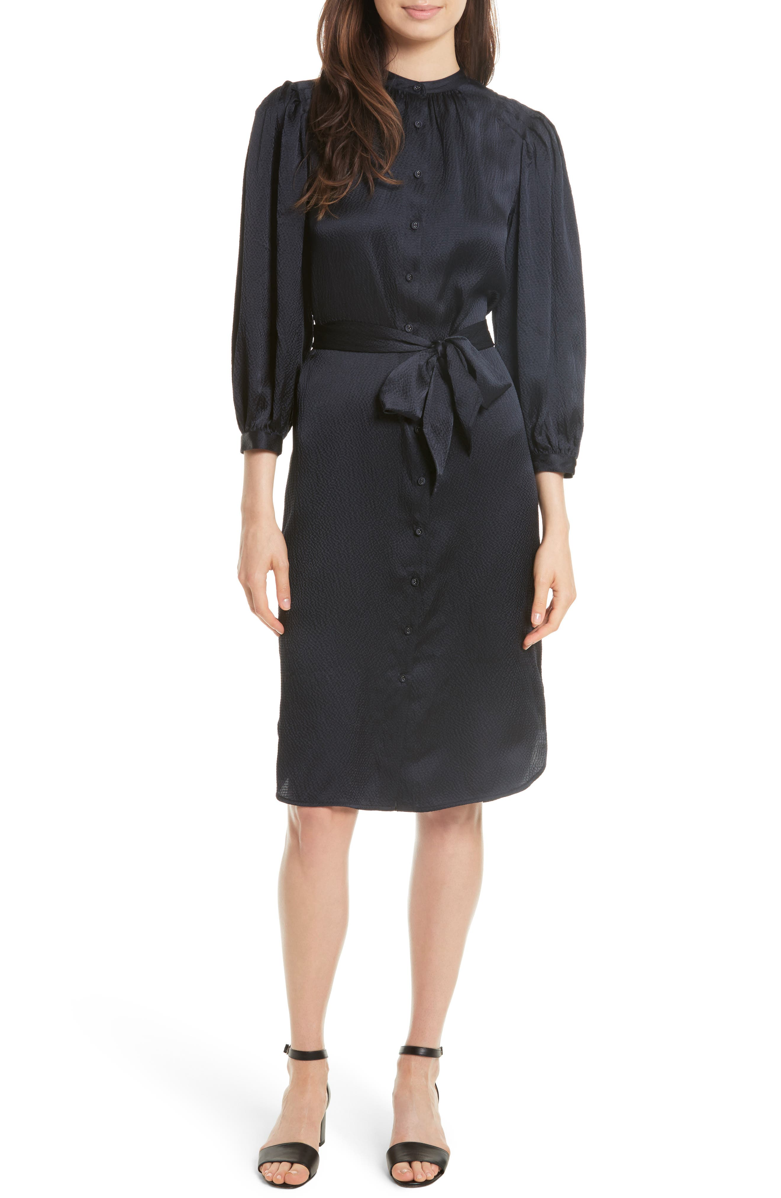 REBECCA TAYLOR Belted Silk Shirtdress