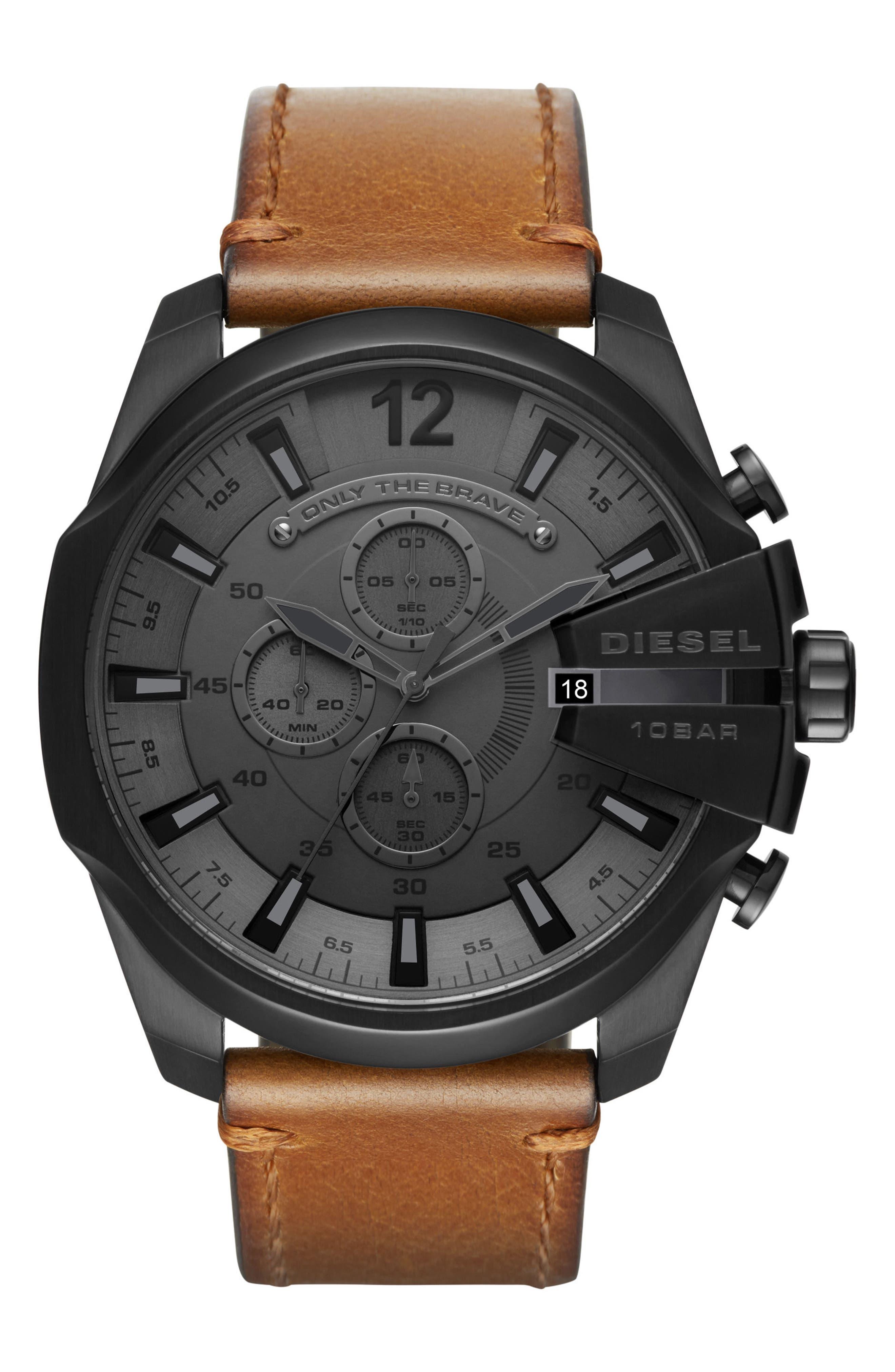 Mega Chief Chronograph Leather Strap Watch, 51mm,                             Main thumbnail 1, color,                             Black/ Tan