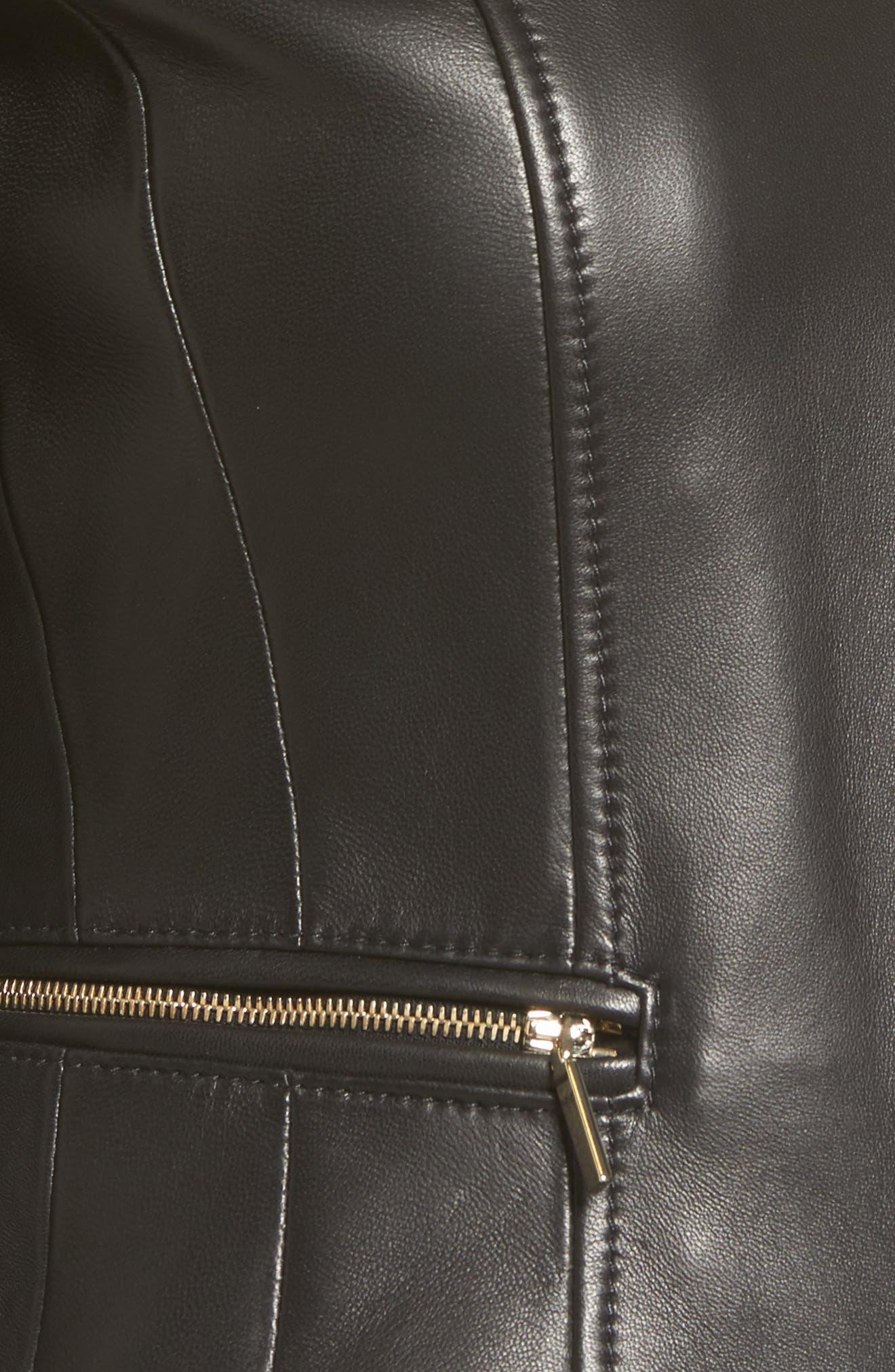 Sakumaya Leather Jacket,                             Alternate thumbnail 5, color,                             Black
