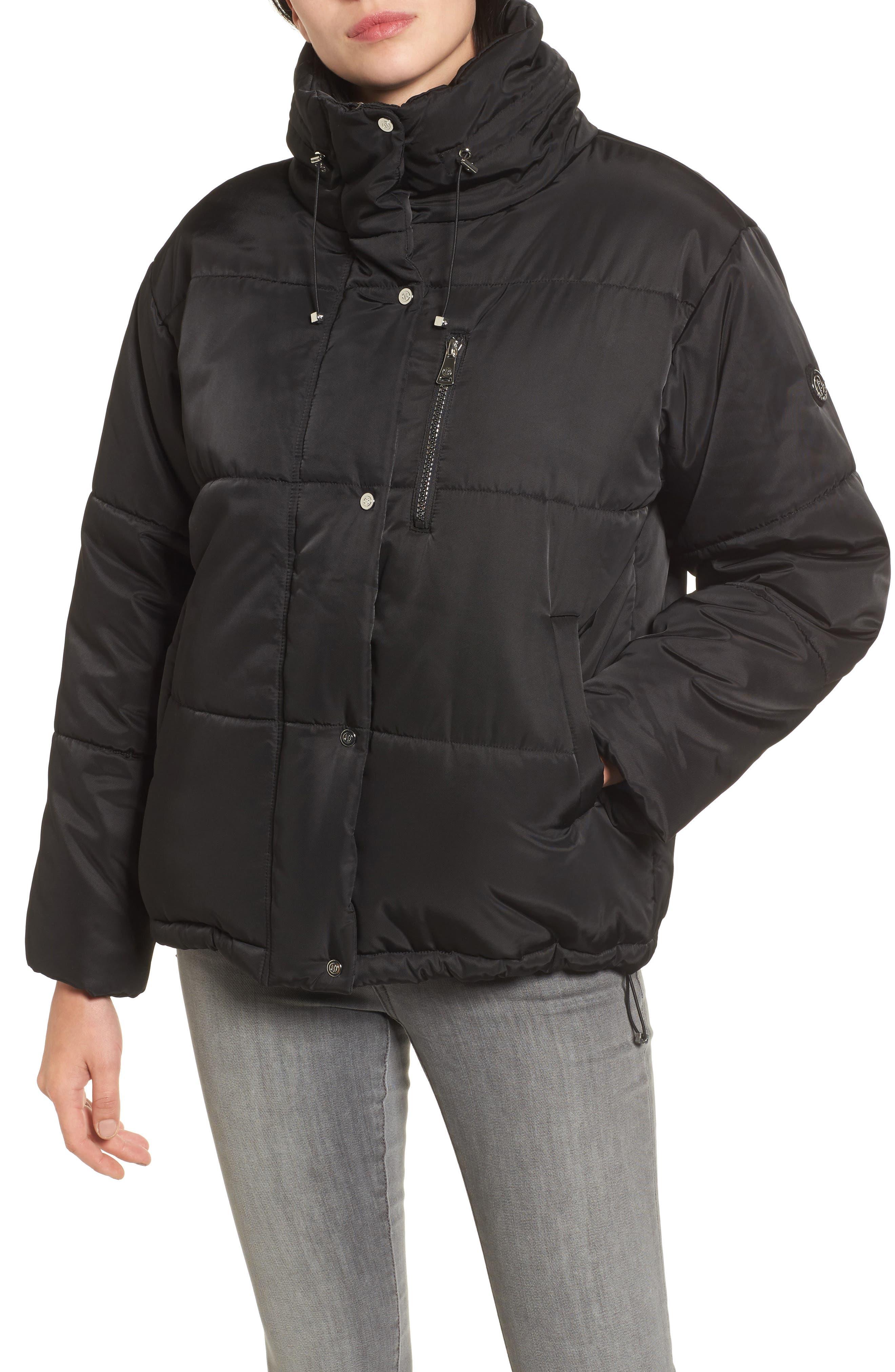 Oversize Puffer Jacket,                             Alternate thumbnail 4, color,                             Black