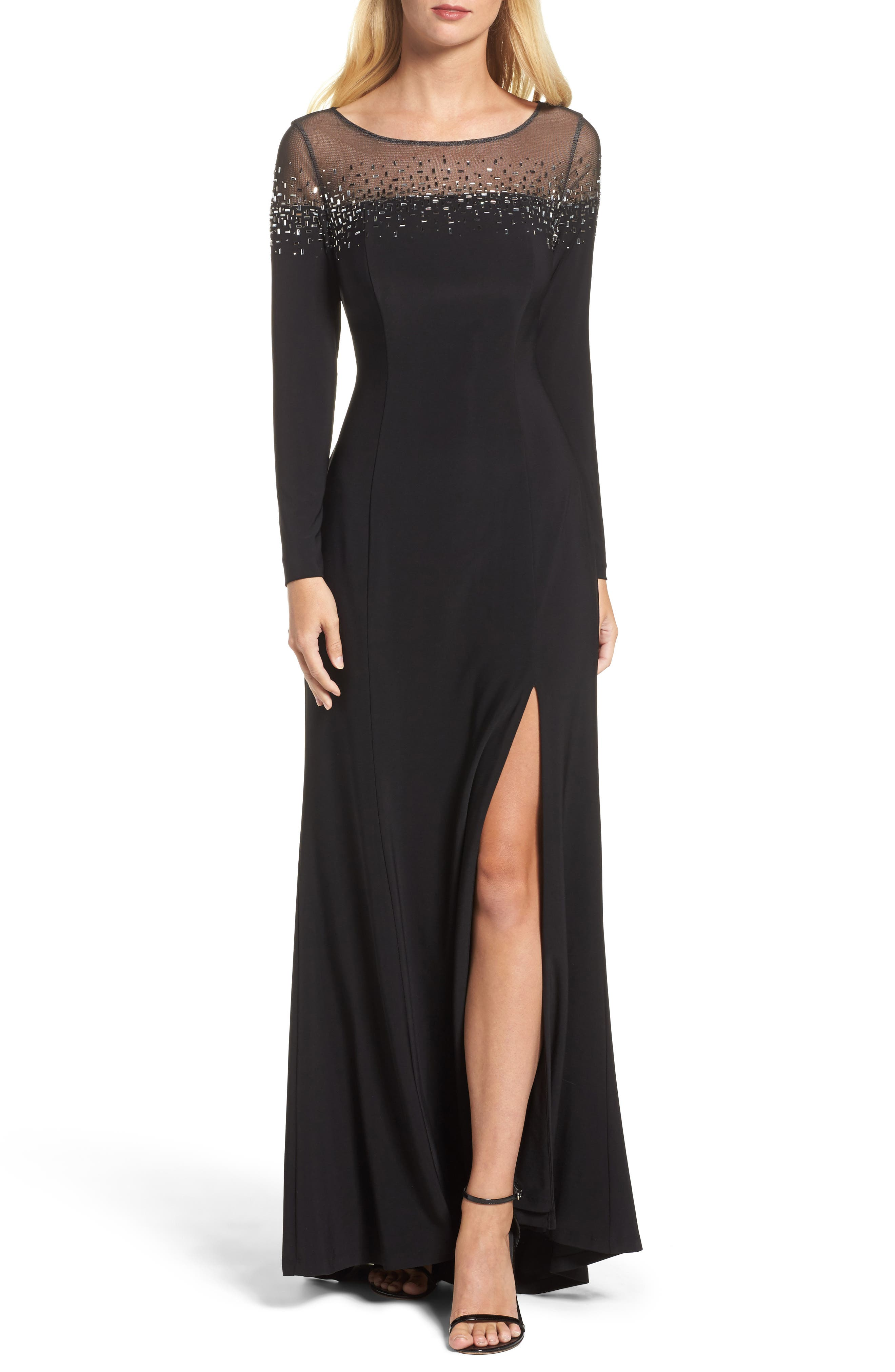 Embellished Jersey Gown,                         Main,                         color, Black
