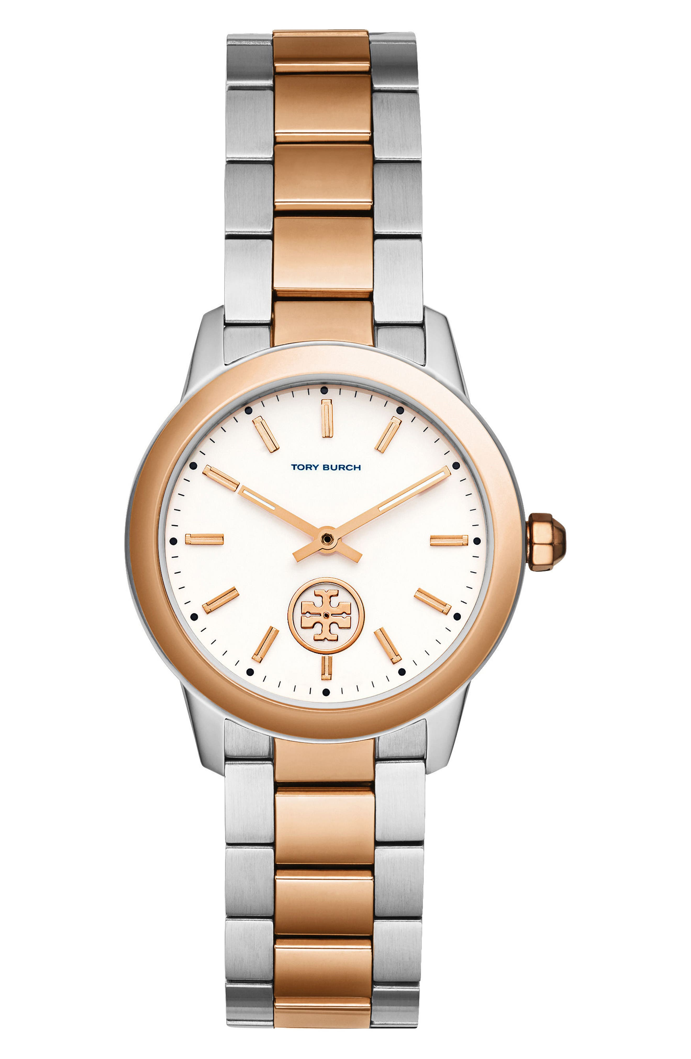 Collins Two-Tone Bracelet Watch, 32mm,                         Main,                         color, Silver/ Ivory/ Rose Gold