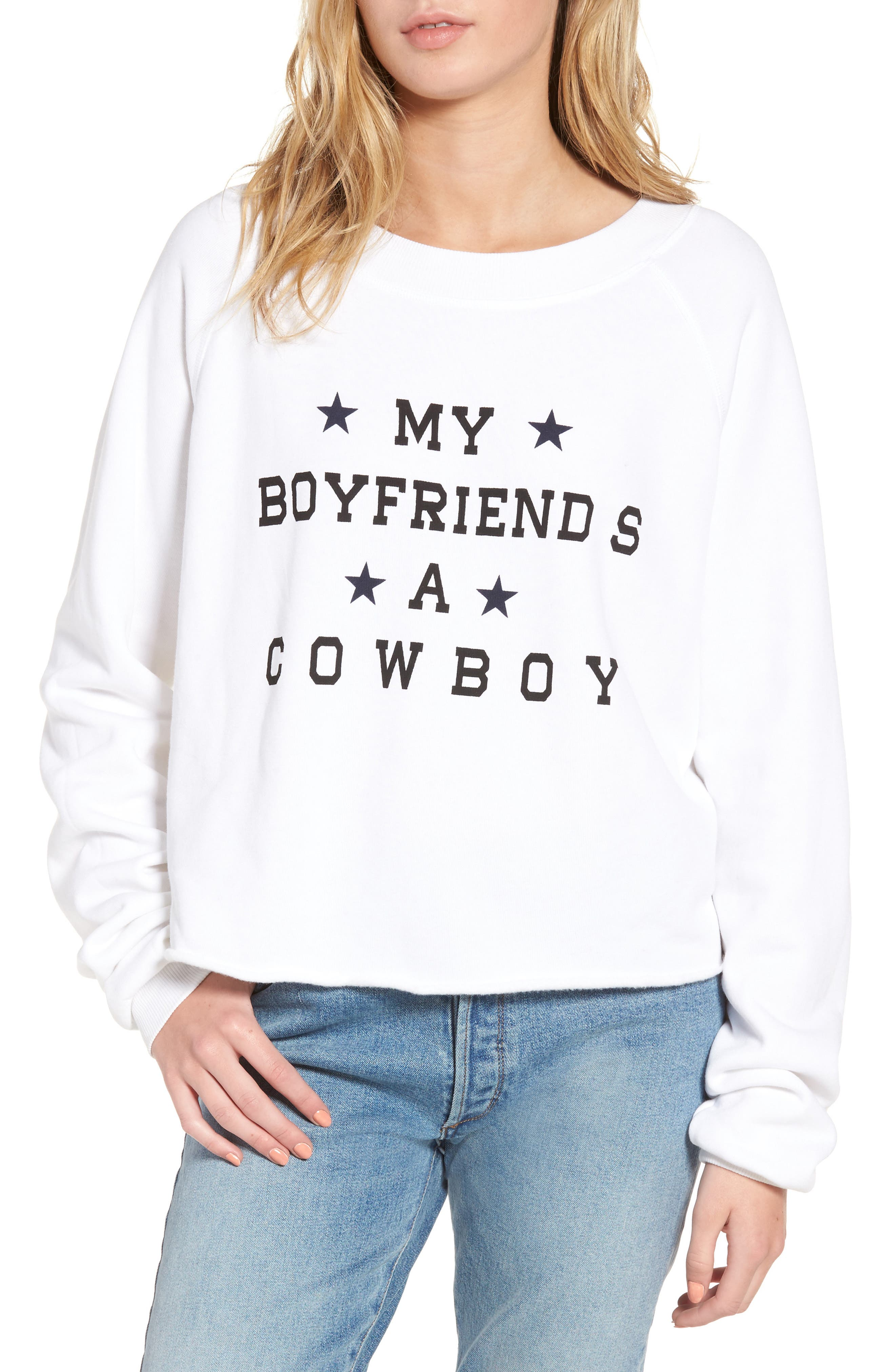 My Boyfriend's a Cowboy Crop Sweatshirt,                         Main,                         color, Cowboy White