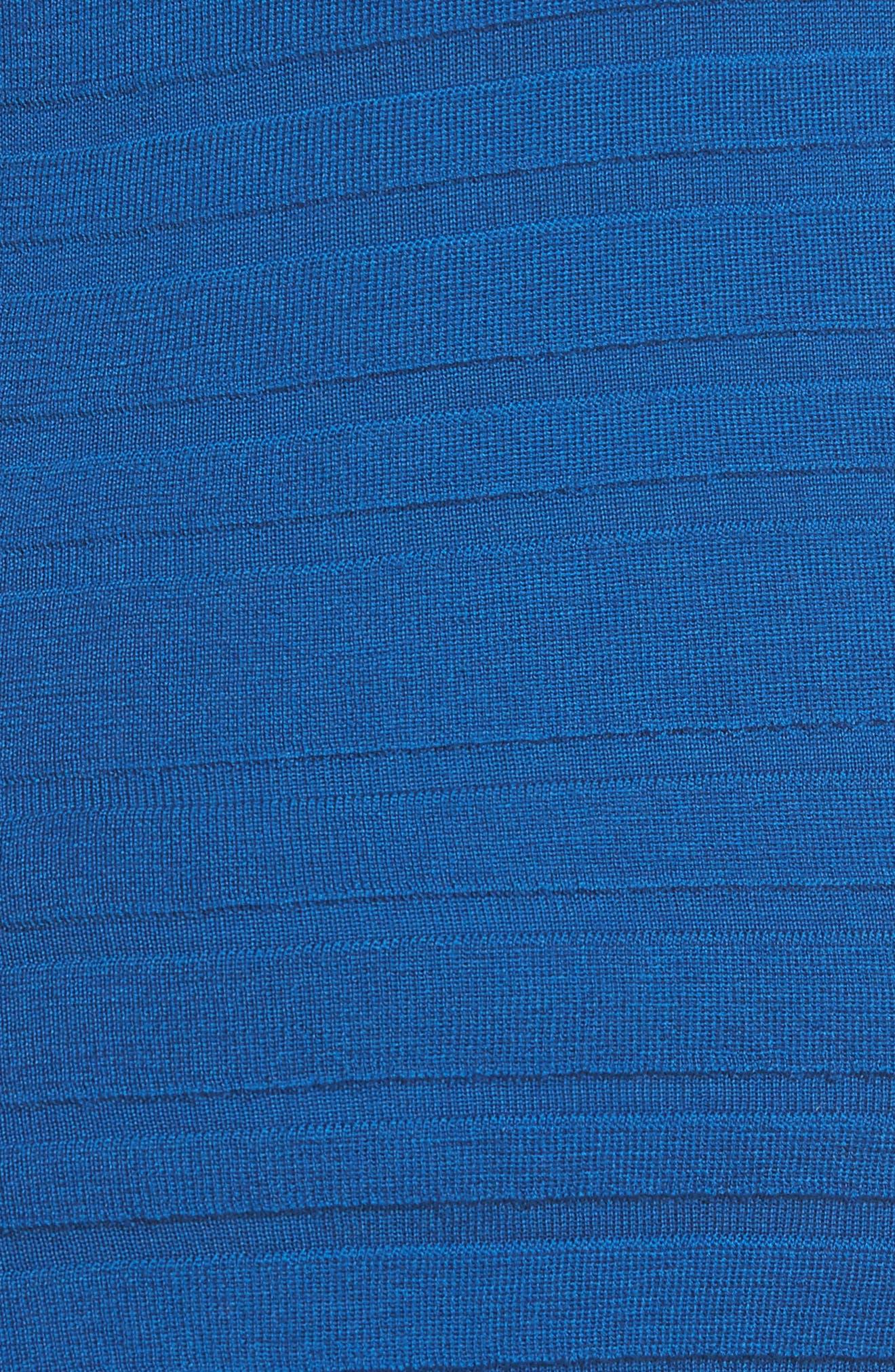 Fahsa Stripe Textured Wool Cardigan,                             Alternate thumbnail 5, color,                             Gentian Blue
