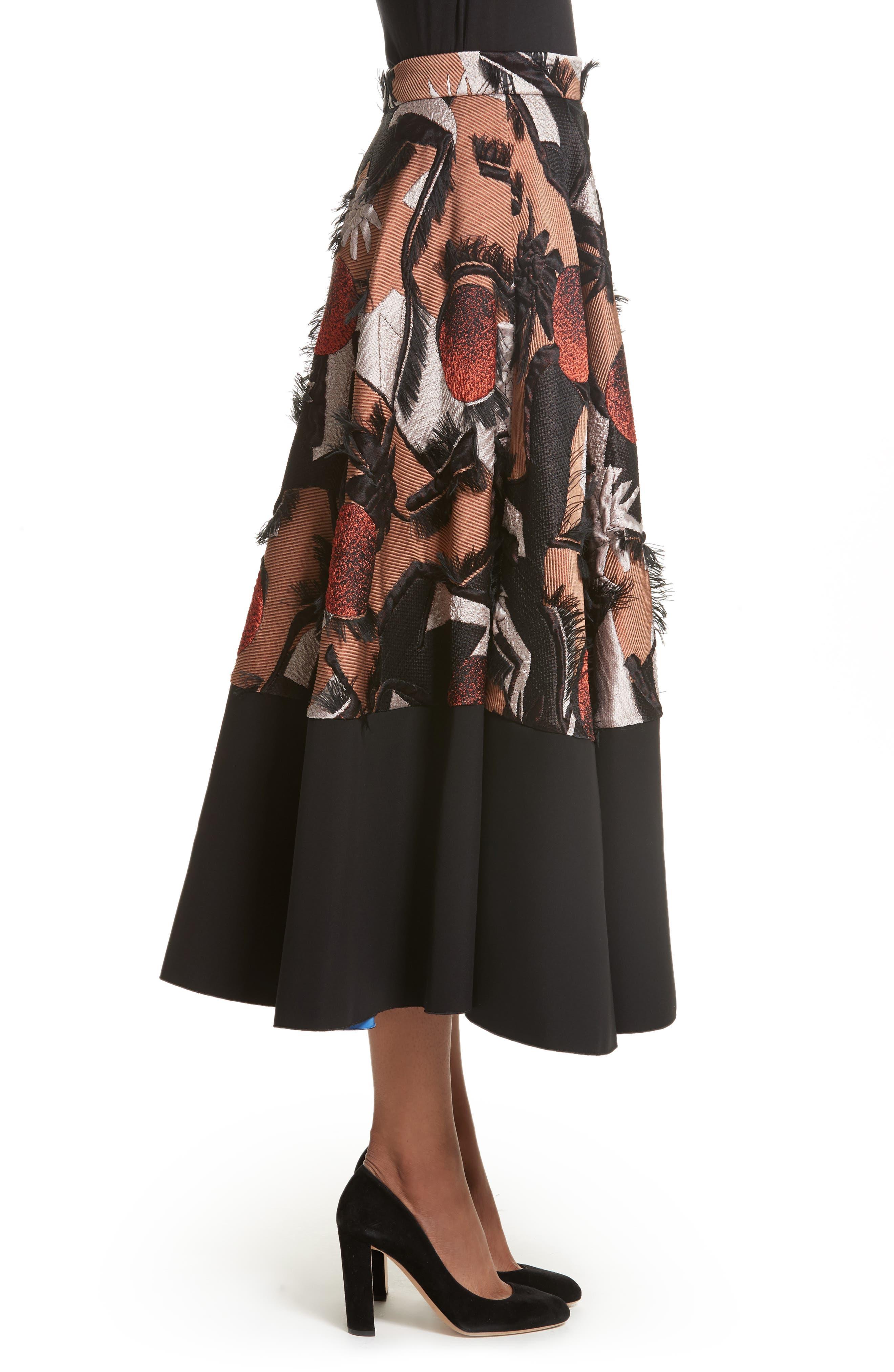 Sharpin Silk Blend Jacquard Skirt,                             Alternate thumbnail 3, color,                             Black Orange Blue