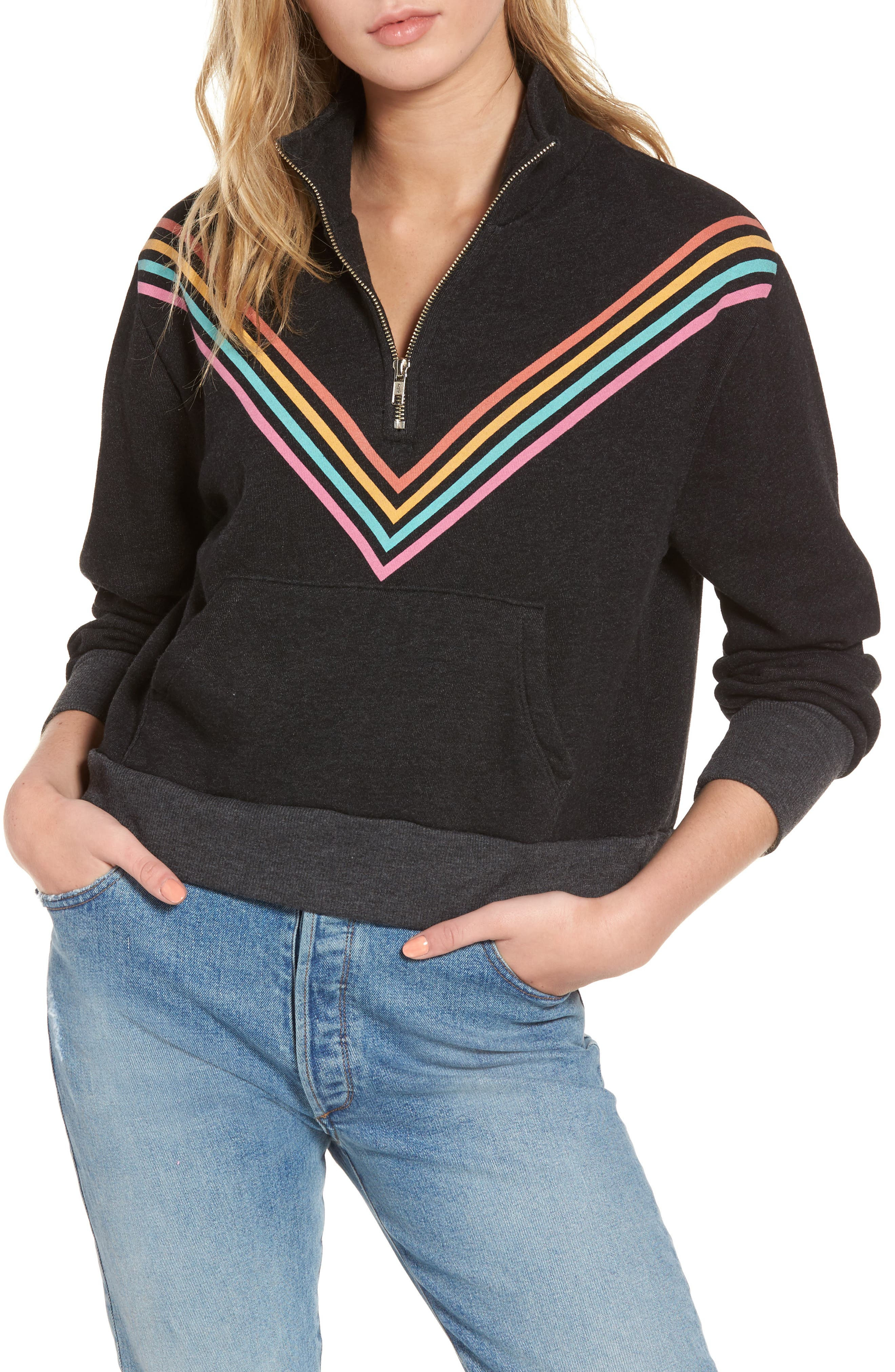 '80s Track Star Soto Warm-Up Sweatshirt,                             Main thumbnail 1, color,                             Heathered Black