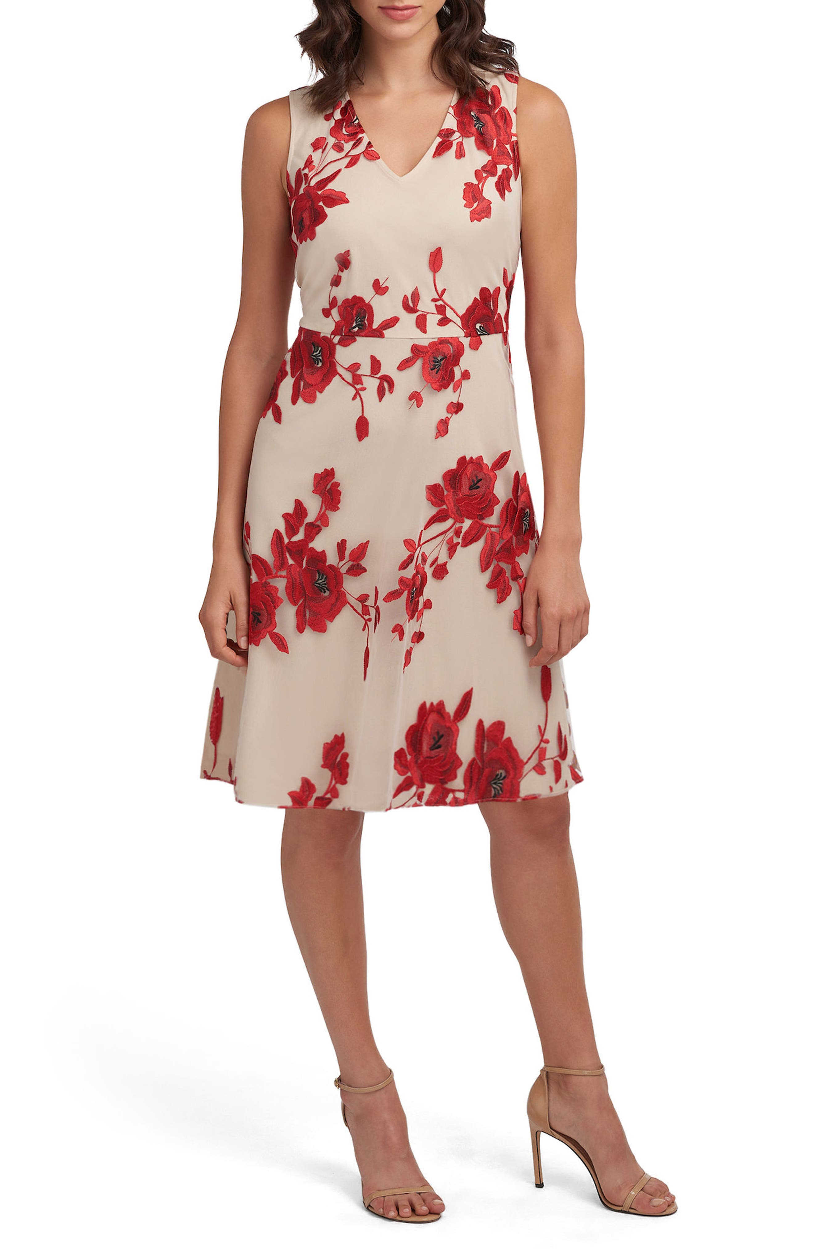 Embroidered Fit & Flare Dress,                             Main thumbnail 1, color,                             Red/ Nude