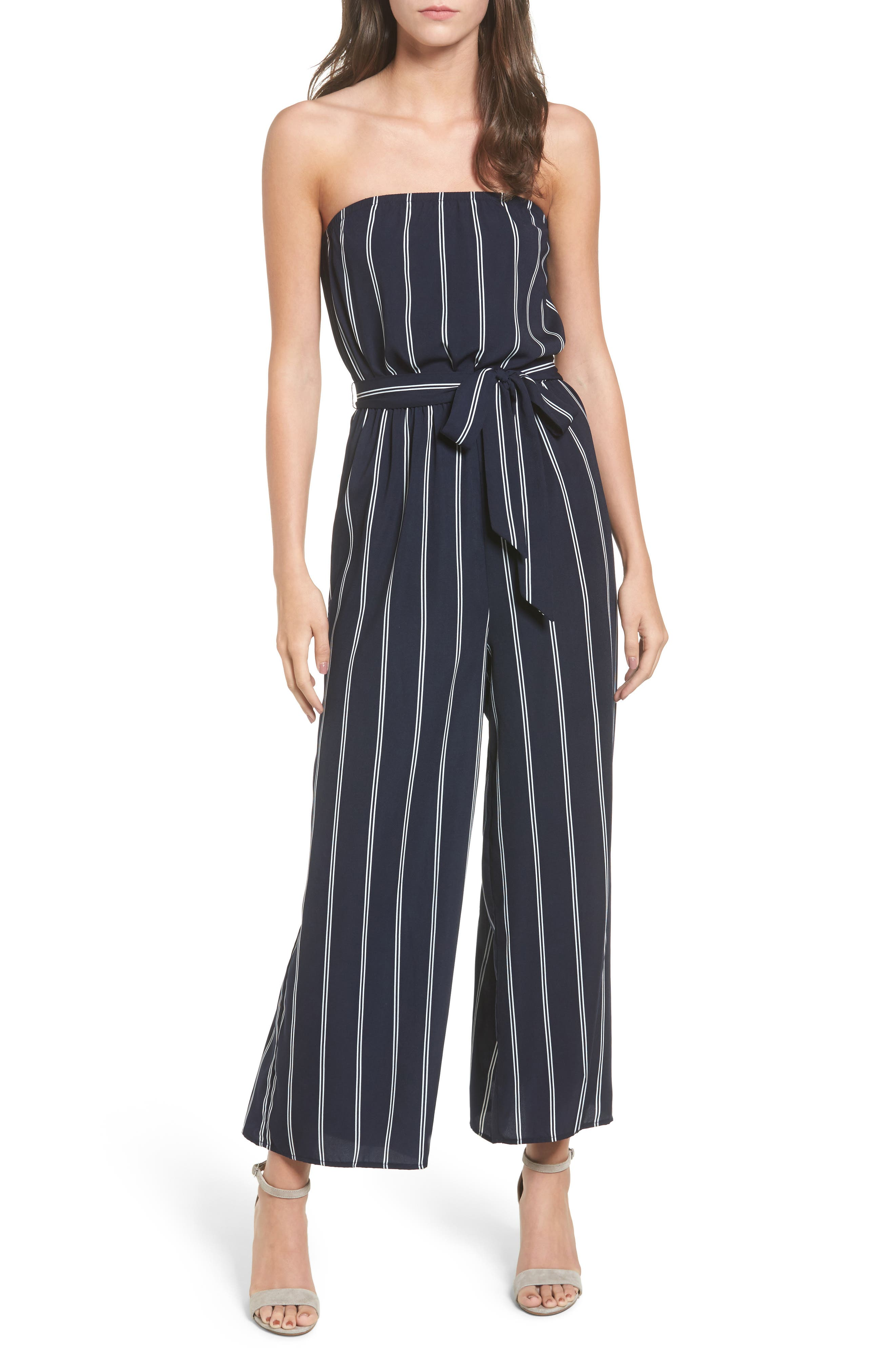 Strapless Jumpsuit,                         Main,                         color, Midnight