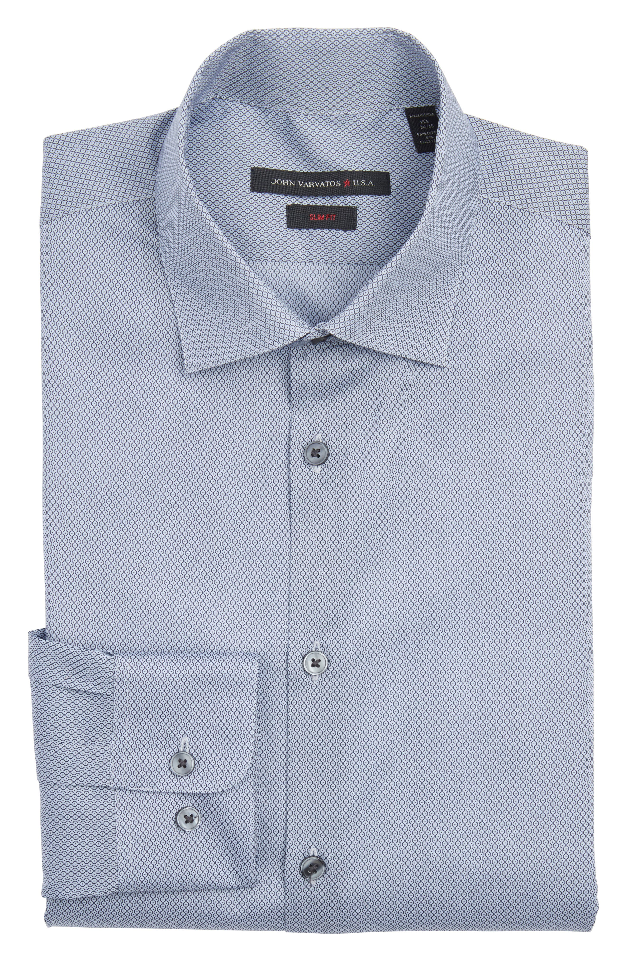 Slim Fit Geometric Dress Shirt,                         Main,                         color, Navy