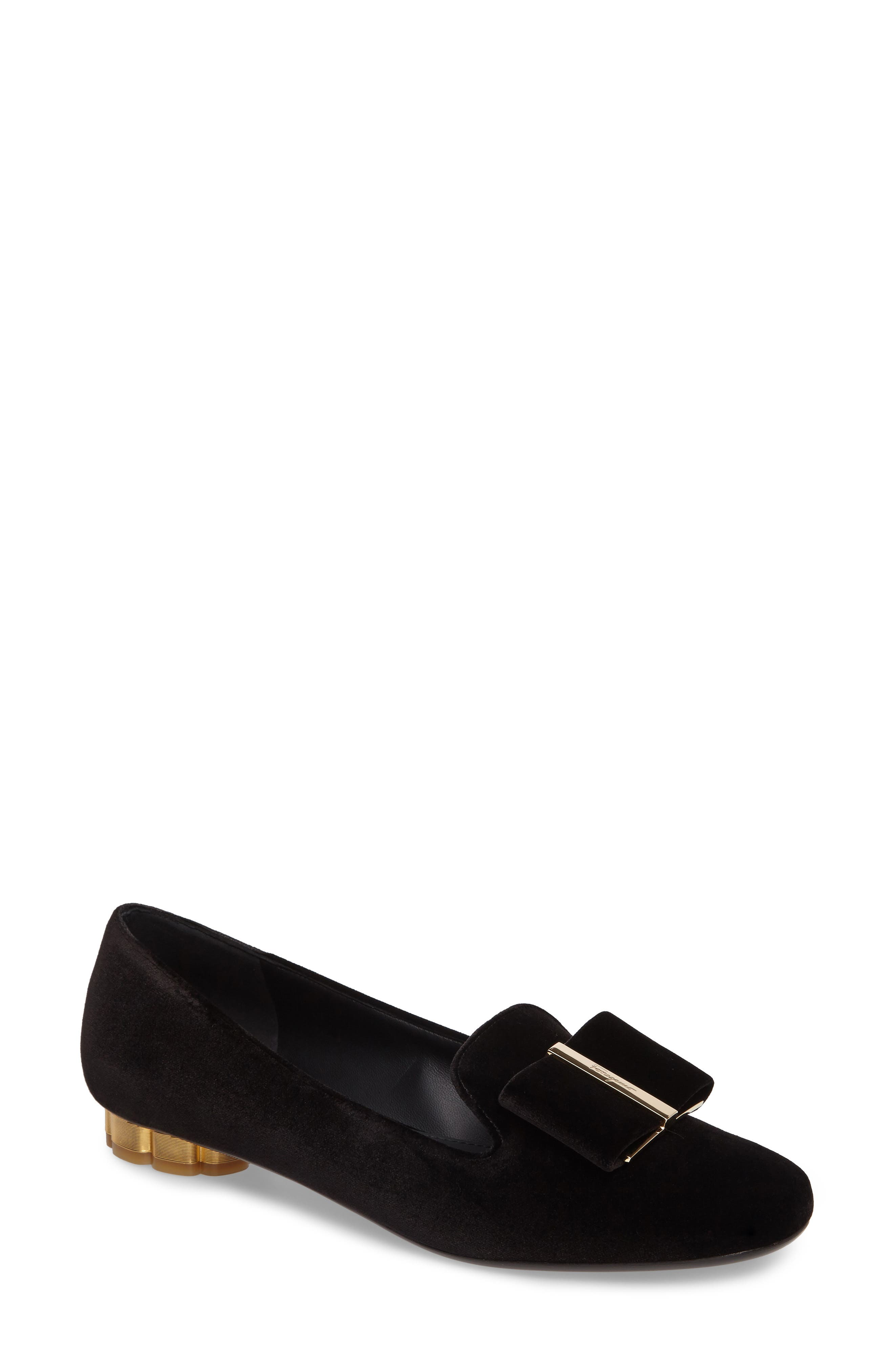 SALVATORE FERRAGAMO Flower Heel Smoking Loafer