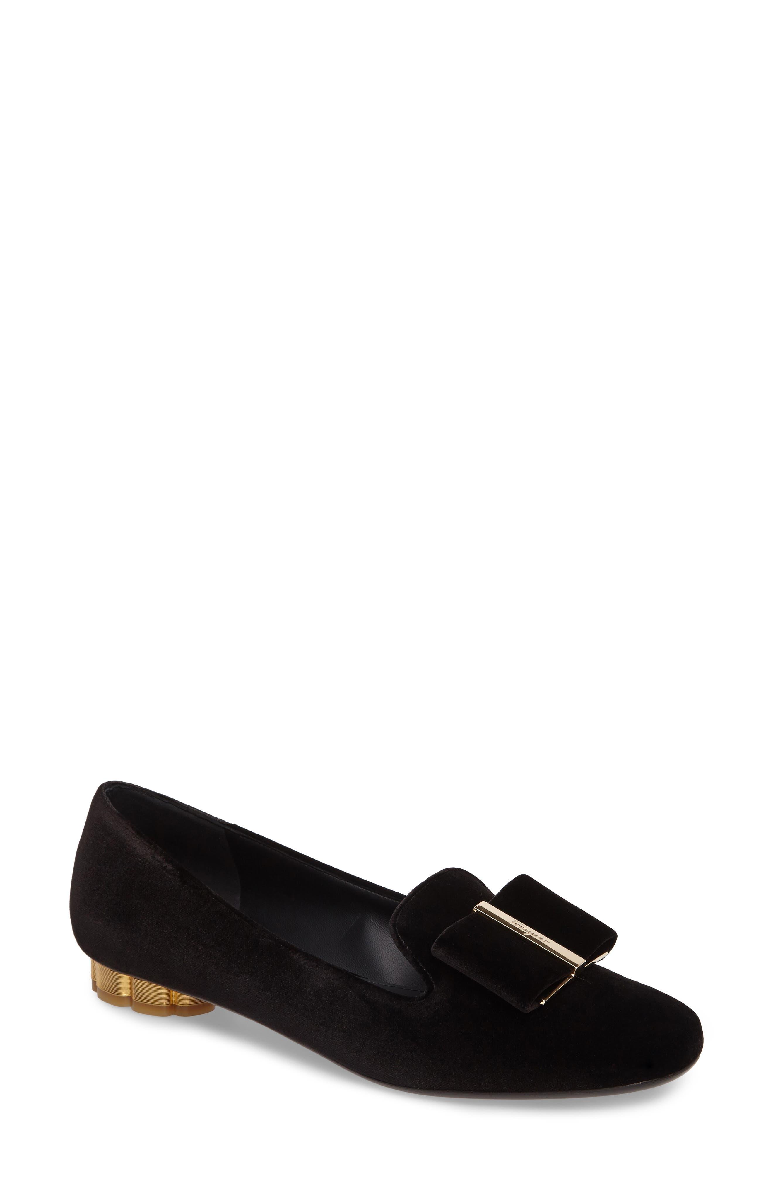 Alternate Image 1 Selected - Salvatore Ferragamo Sarno Flower Heel Smoking Loafer (Women)